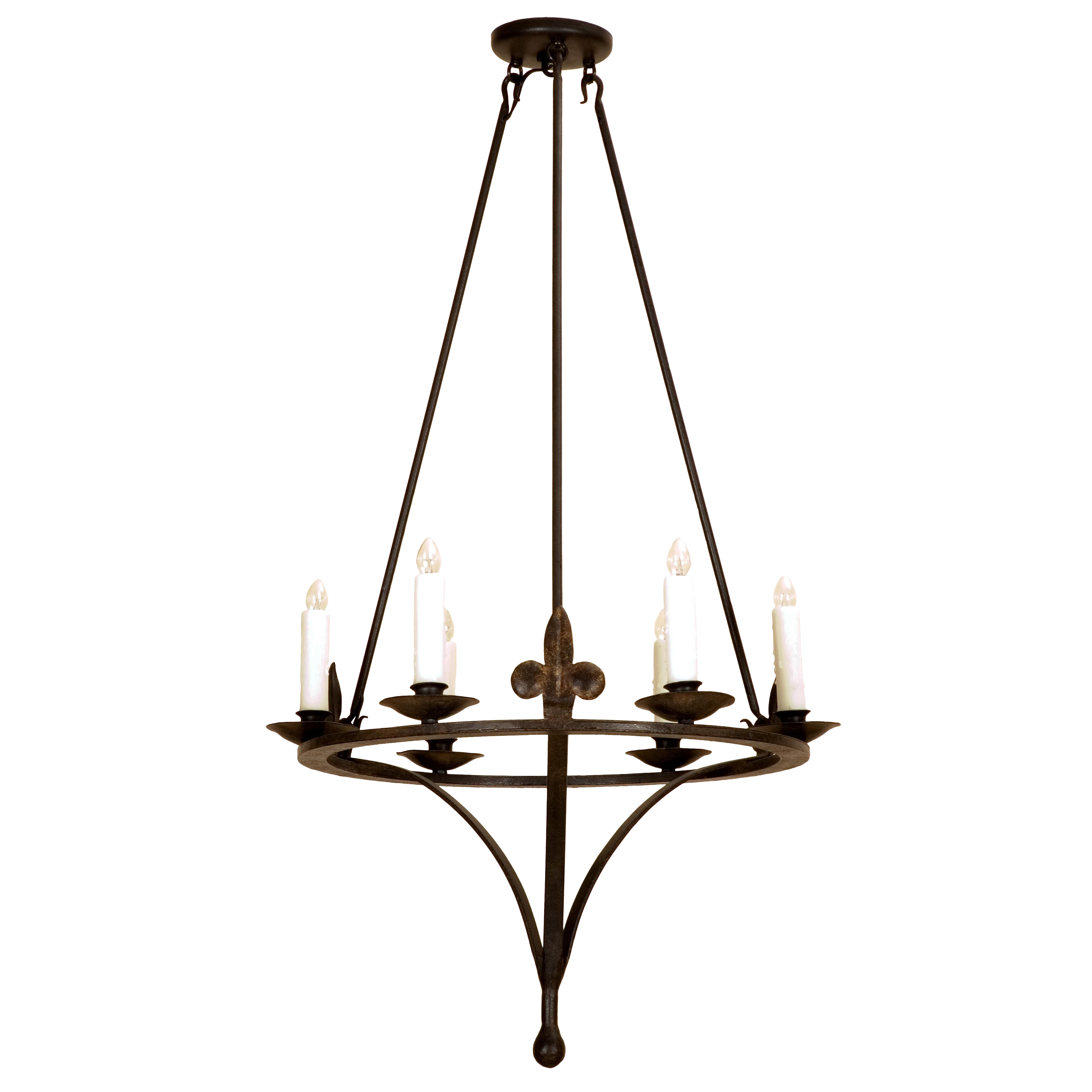 Lovely Tosca Italian Country Wrought Iron Six Light