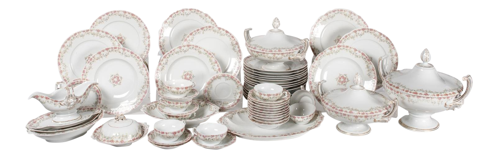 Exceptional Antique European Dinnerware Service for 8 People With Serving Pcs. L | DECASO  sc 1 st  Decaso & Exceptional Antique European Dinnerware Service for 8 People With ...
