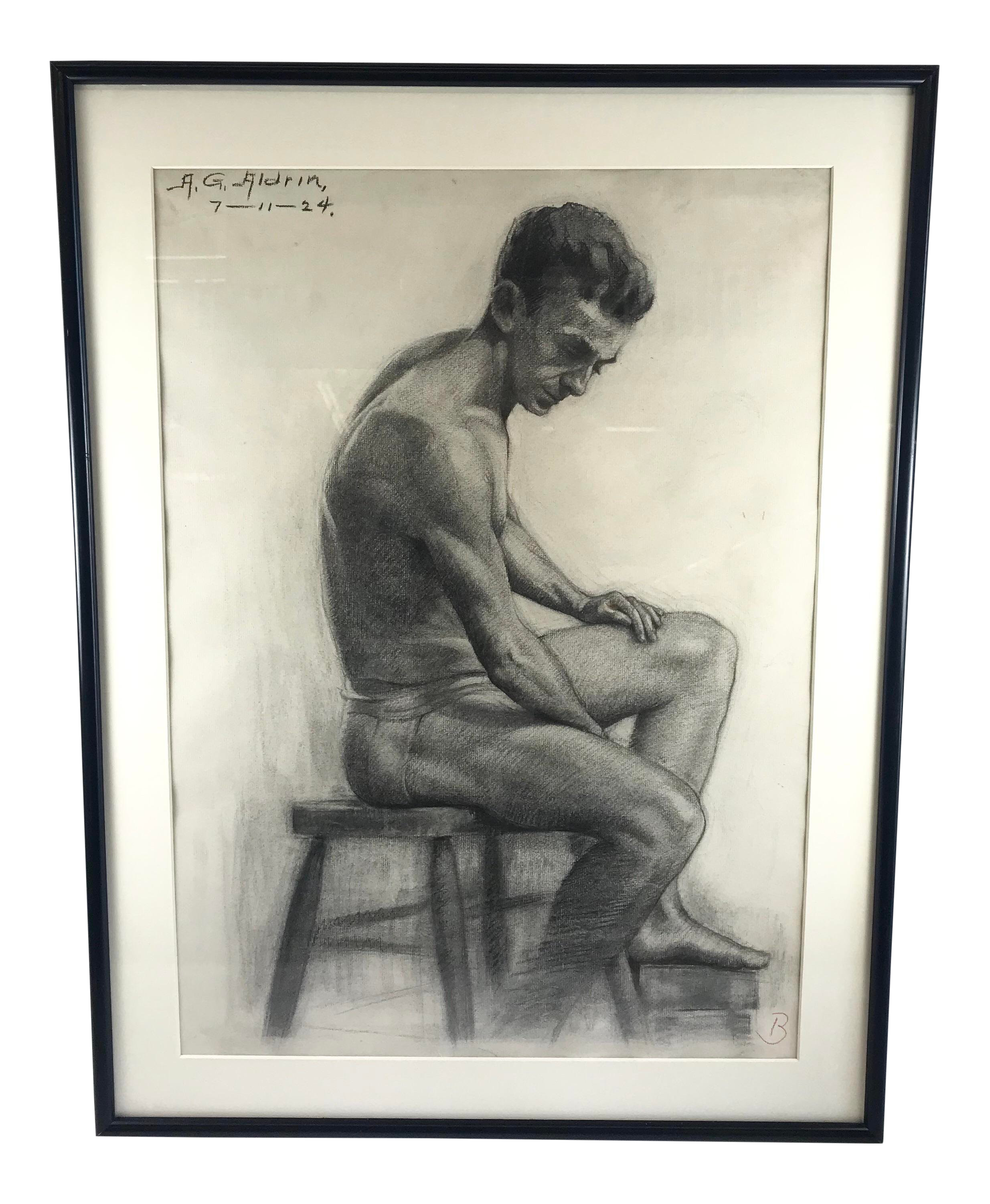 1920s Figurative Drawing Of Seated Man Signed Aldrin Chairish