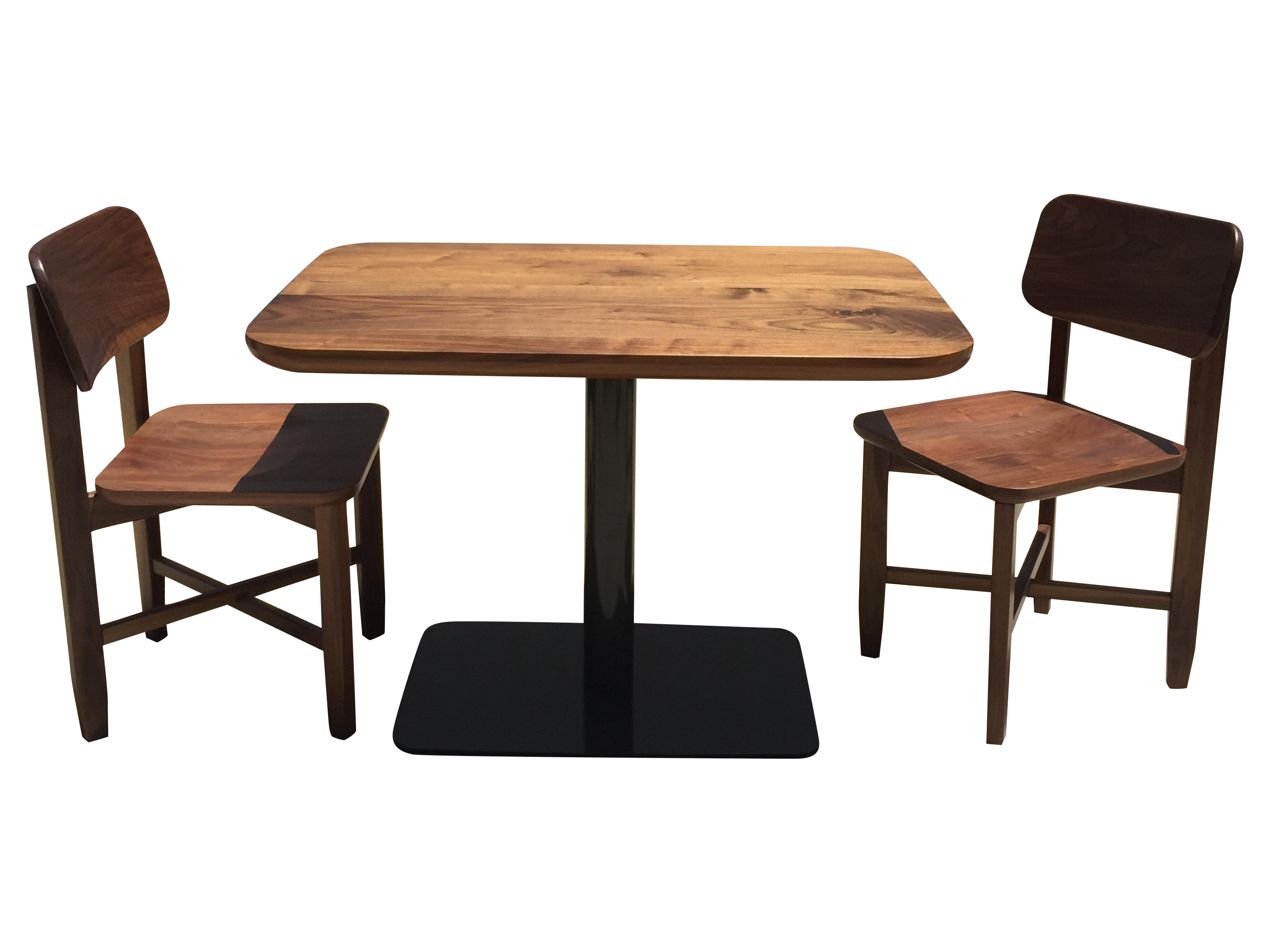 Small Walnut Cafe Table Two Chairs