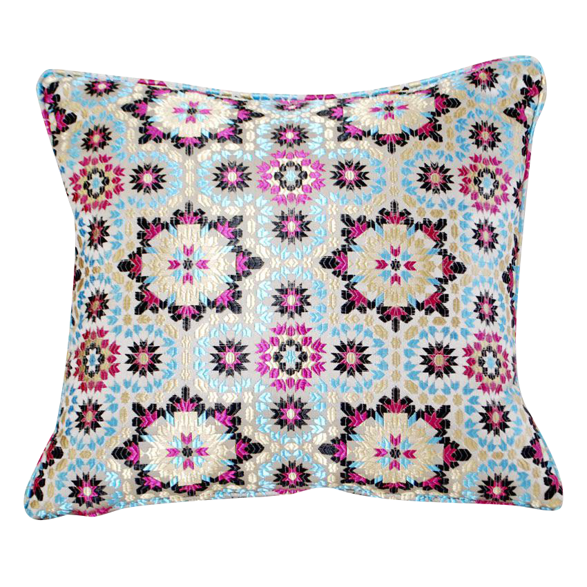 Throw Pillows Vintage Fabric : Moroccan Zellig Fabric Throw Pillow Chairish