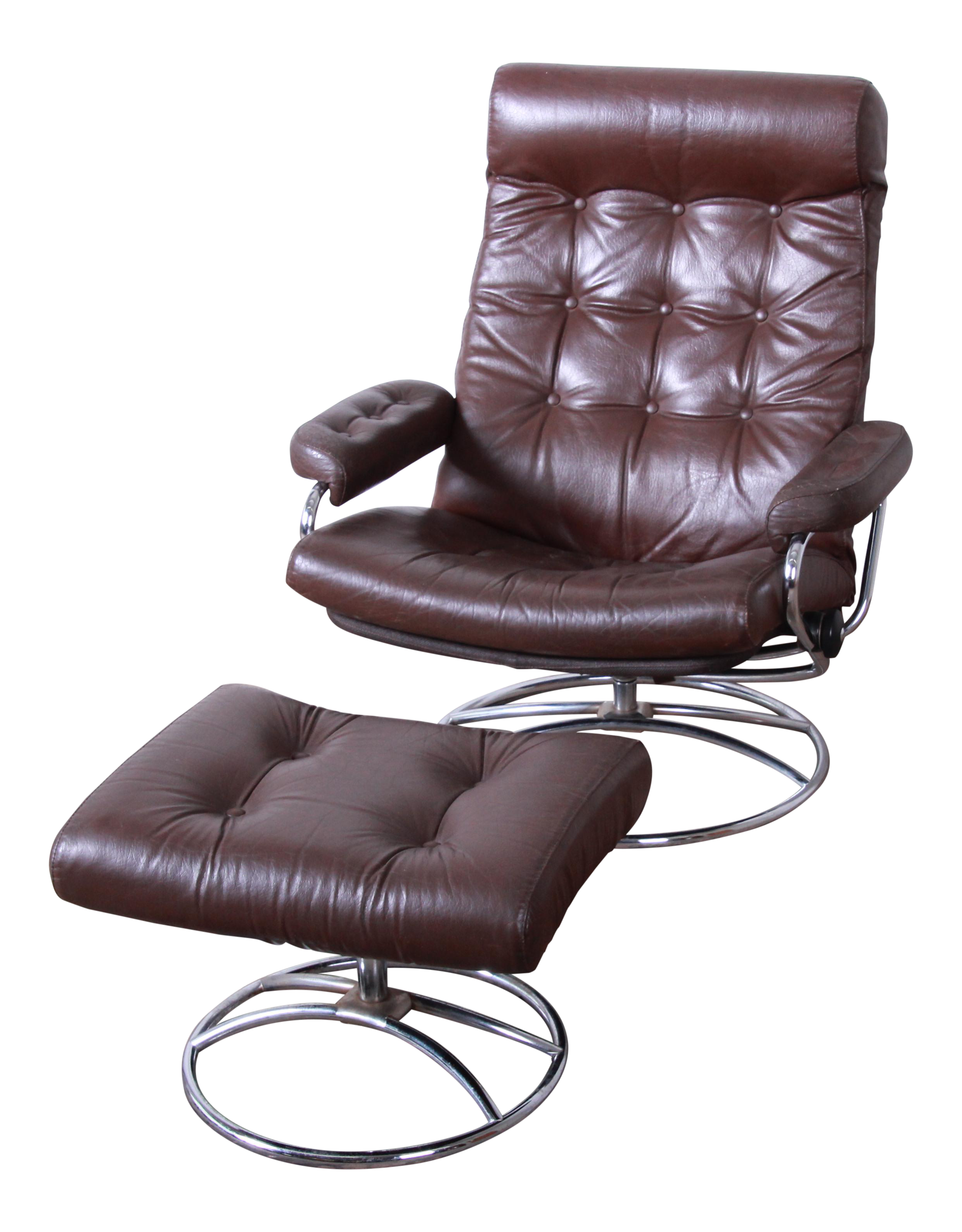 new concept a0feb a168f Vintage Ekornes Stressless Chrome and Leather Lounge Chair and Ottoman
