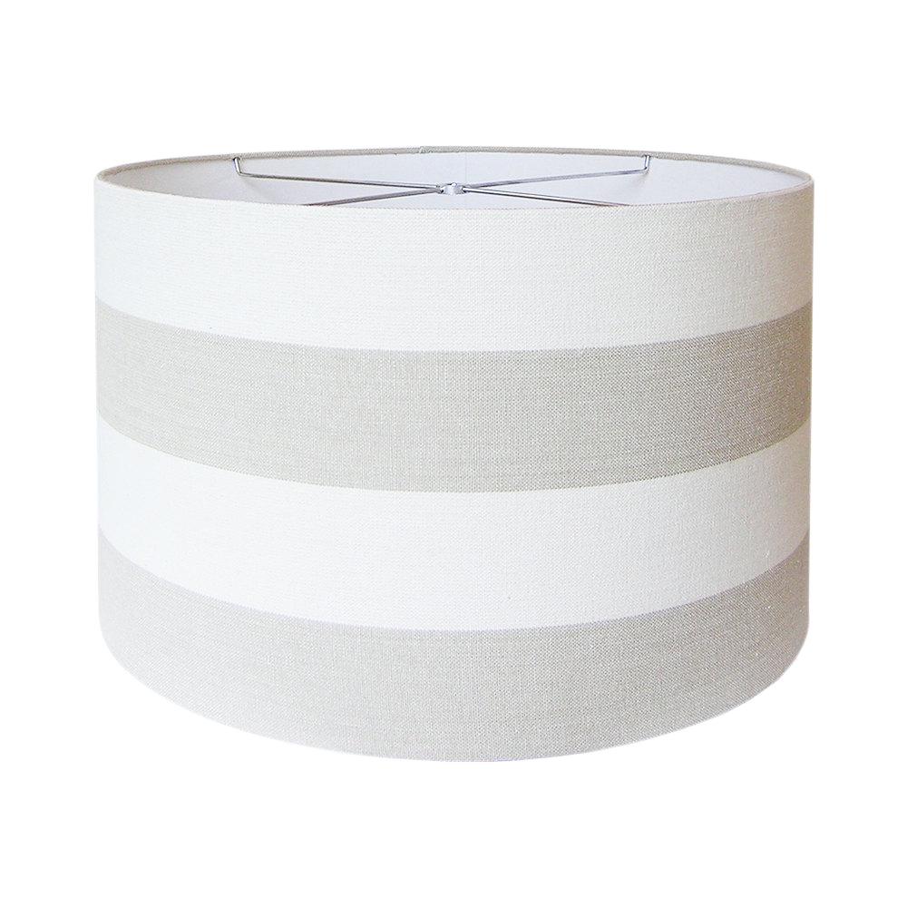 Covington riley beige wide stripe fabric drum lamp shade for Wide drum lamp shade
