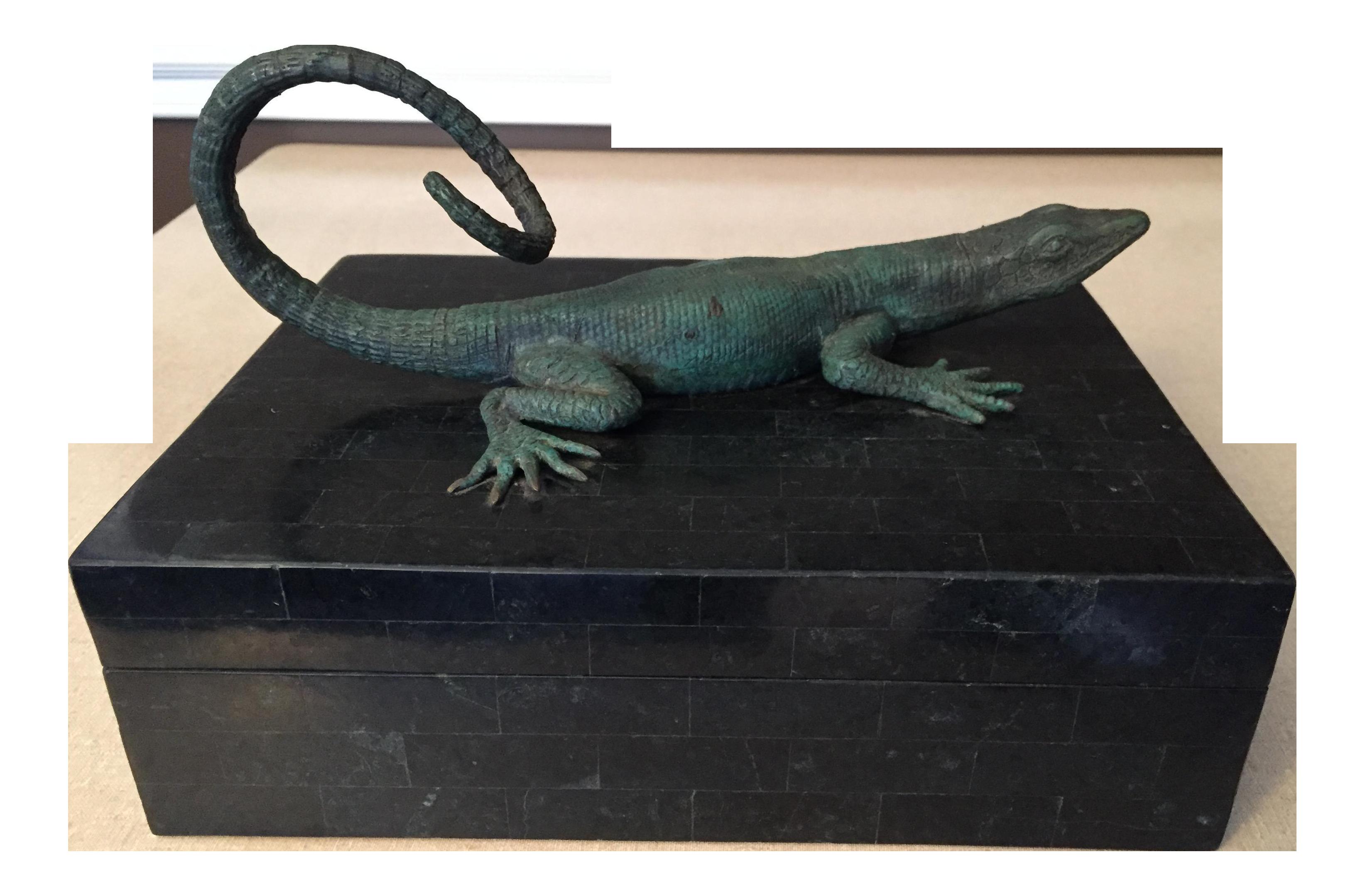 Maitland Smith Bronze Lizard Tessellated Box Chairish