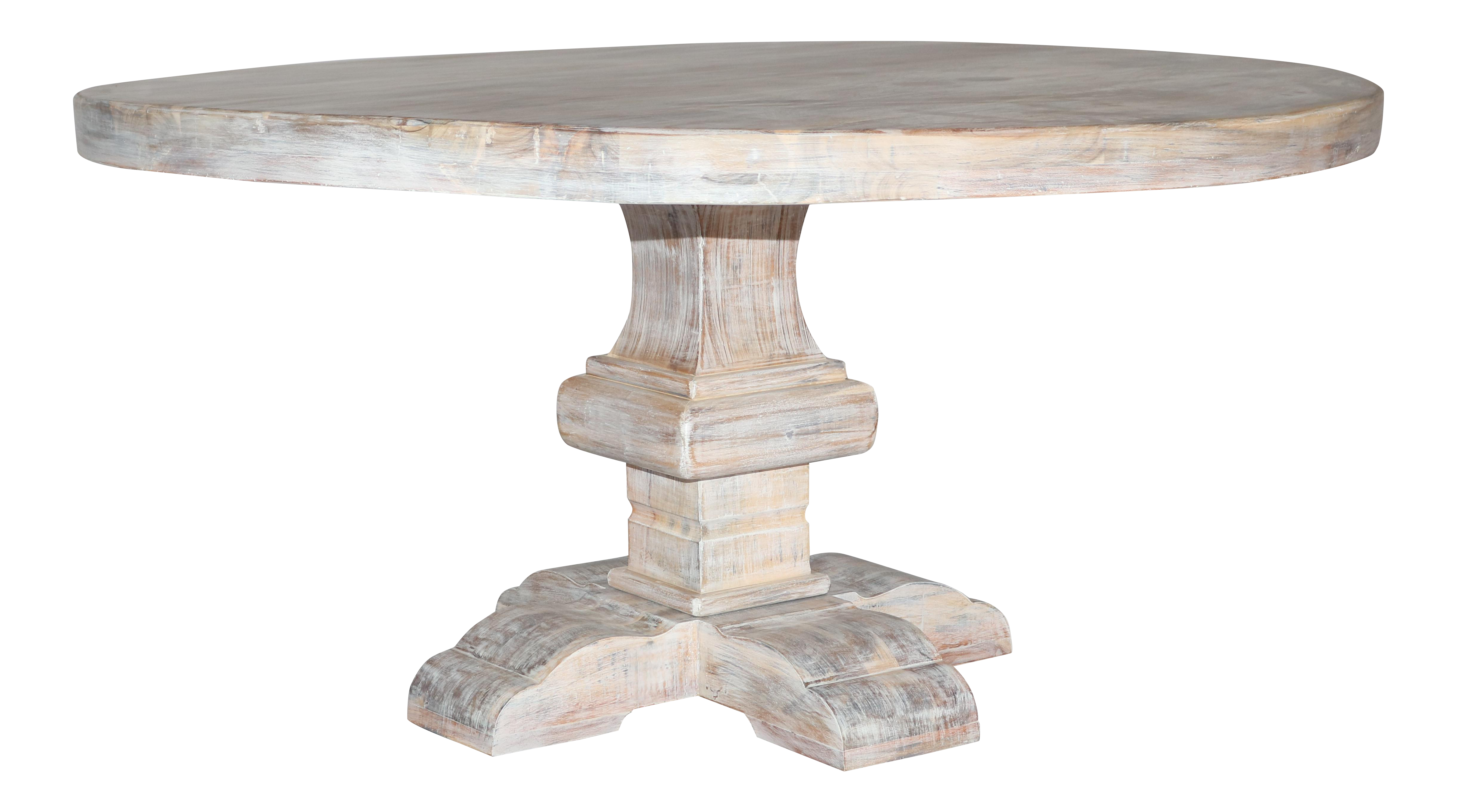 Farmhouse Solid Wood White Wash Round Dining Table