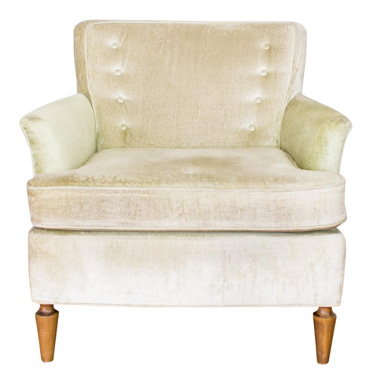 Mid Century Club Chair In Pale Green Velvet Tufted Back Cushion And Chairish