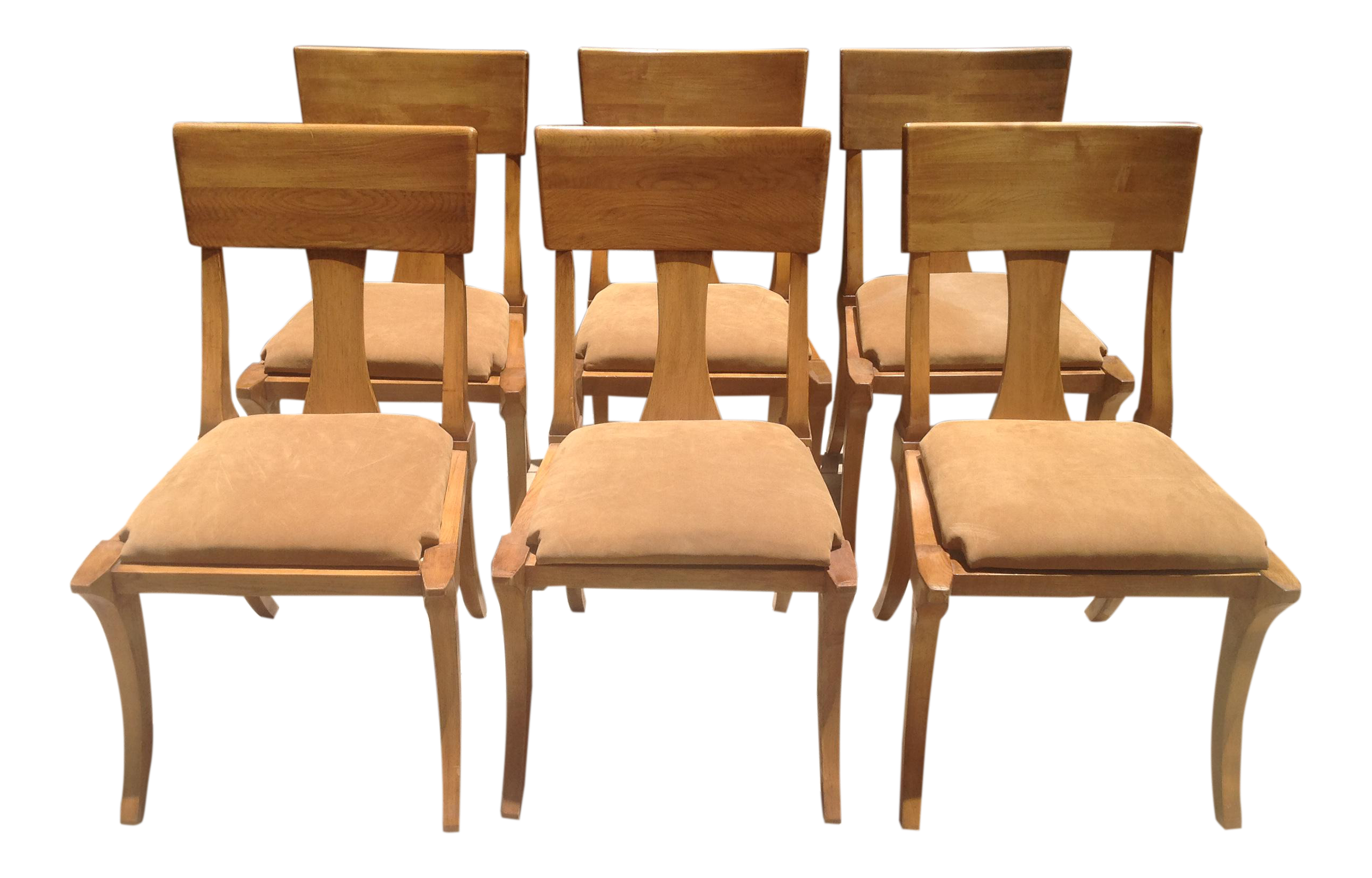 Mid Century Modern Klismos Style Wooden Dining Chairs - Set of 6