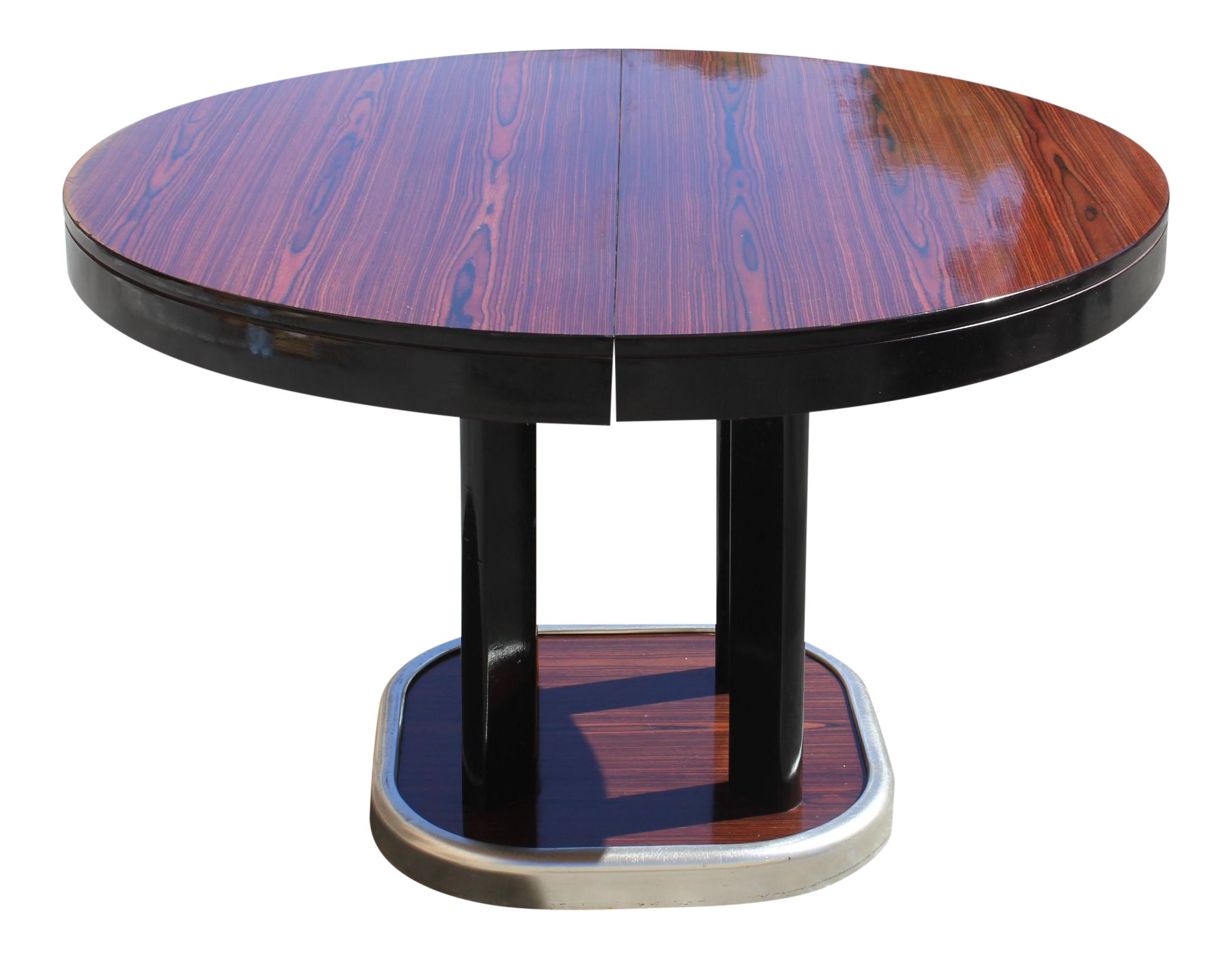 French Art Deco Macassar Ebony Round Dining Table With Built In Extension Leaf Chairish