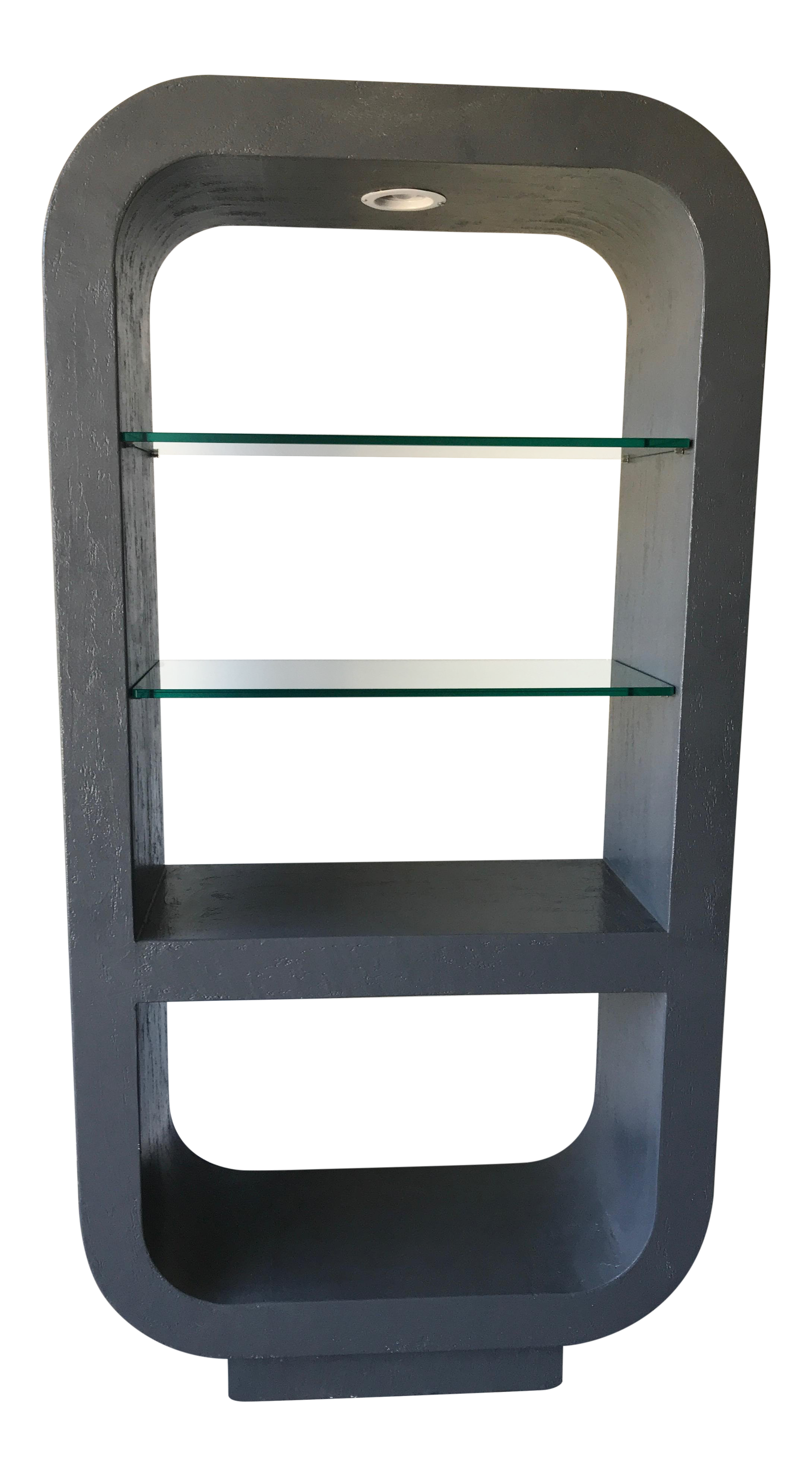 Tremendous Etagere Rounded Lighted Display Case With Thick Glass Shelves Home Interior And Landscaping Ferensignezvosmurscom