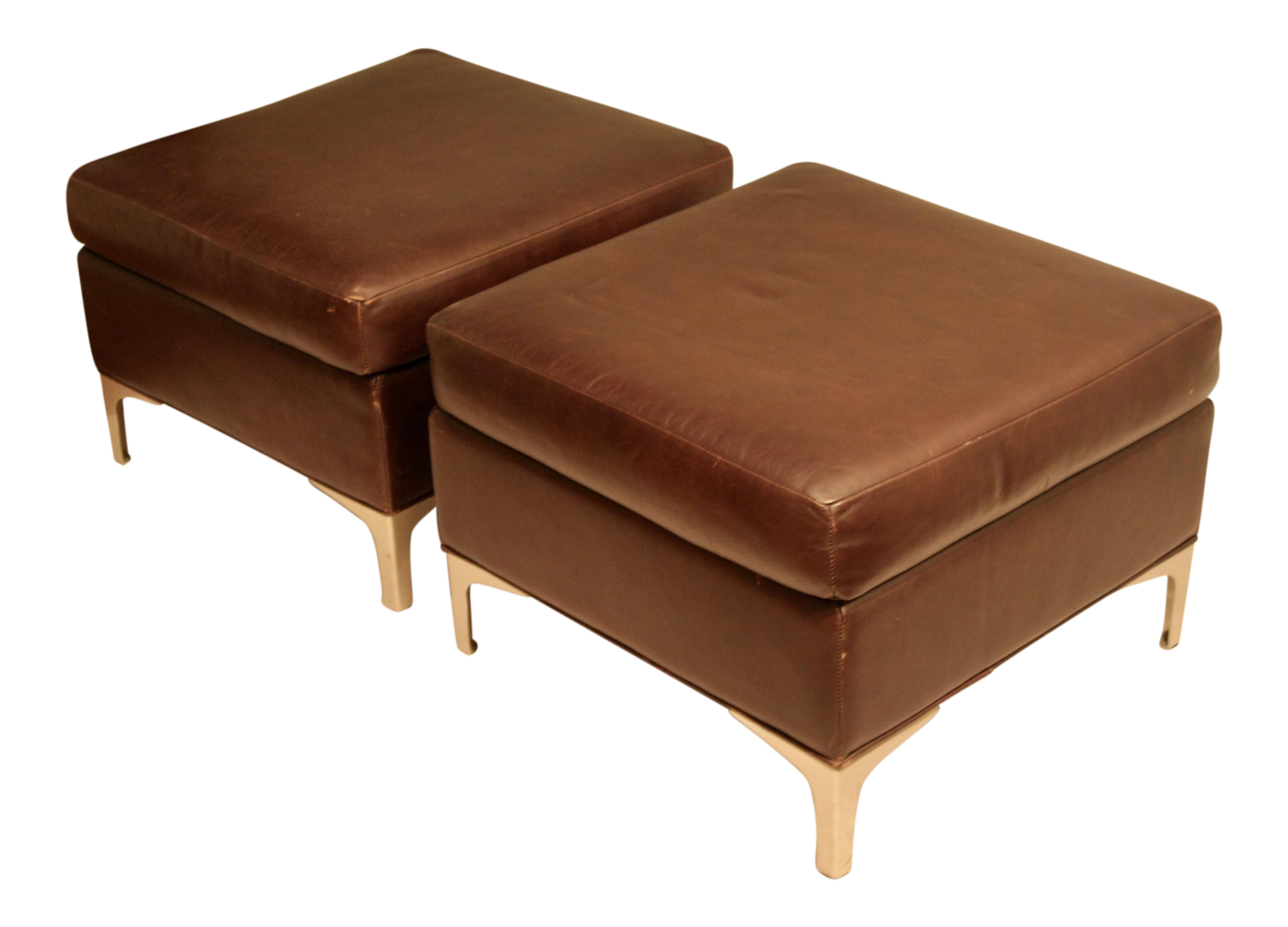 Faux Leather Ottomans With Modernist Brushed Steel Legs