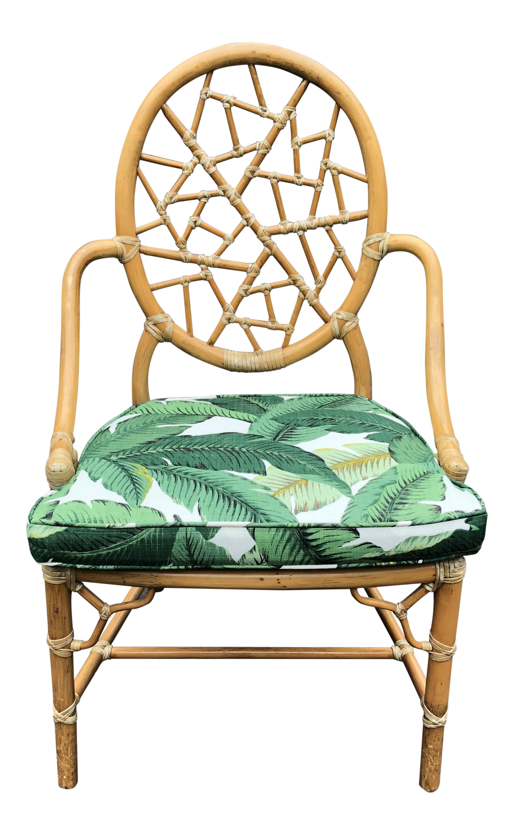 Vintage McGuire Palm Cushion Cracked Ice Rattan Chair