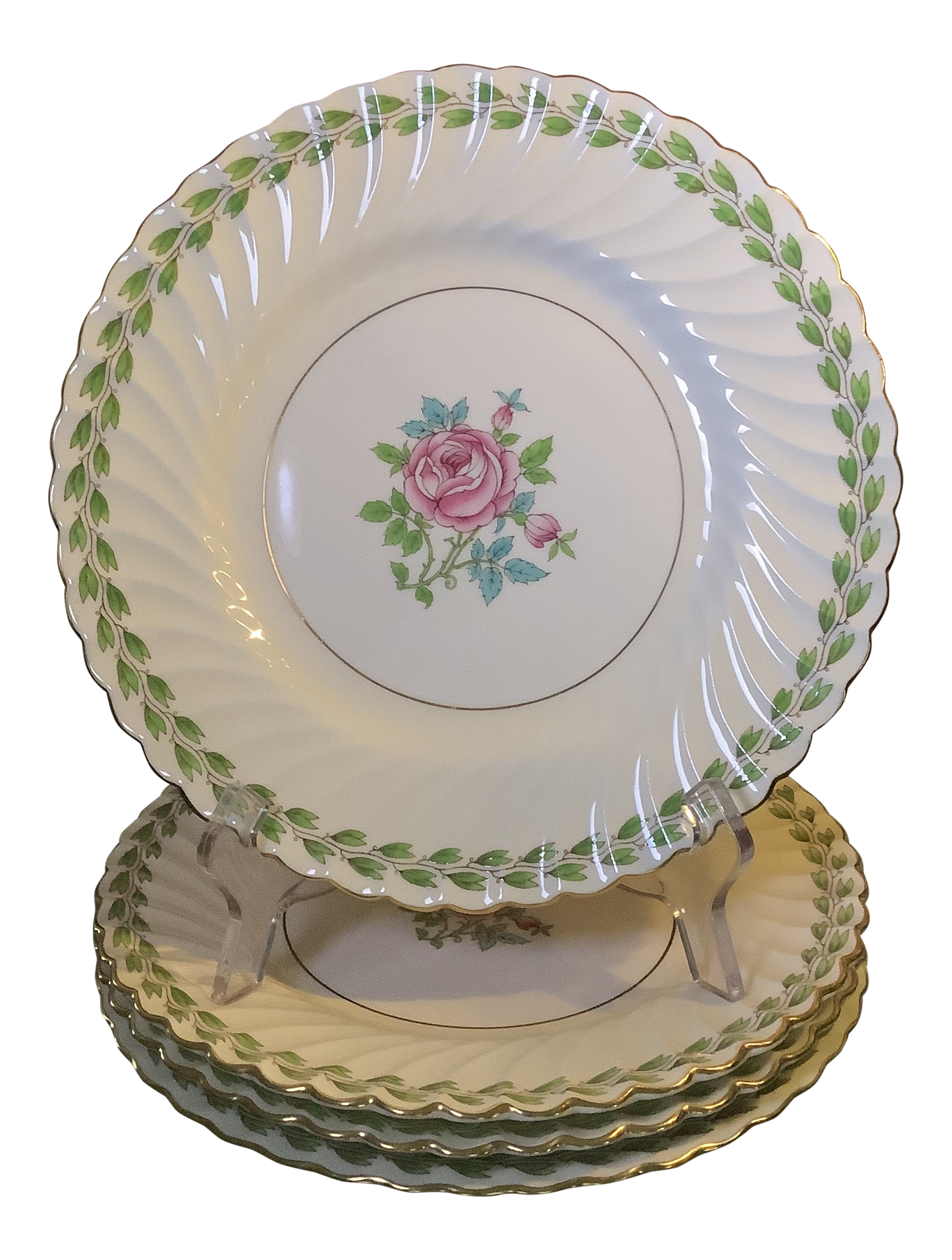 "Antique Minton Rose Bone China Dessert Plates  7 3//4/"" 1916-1917"