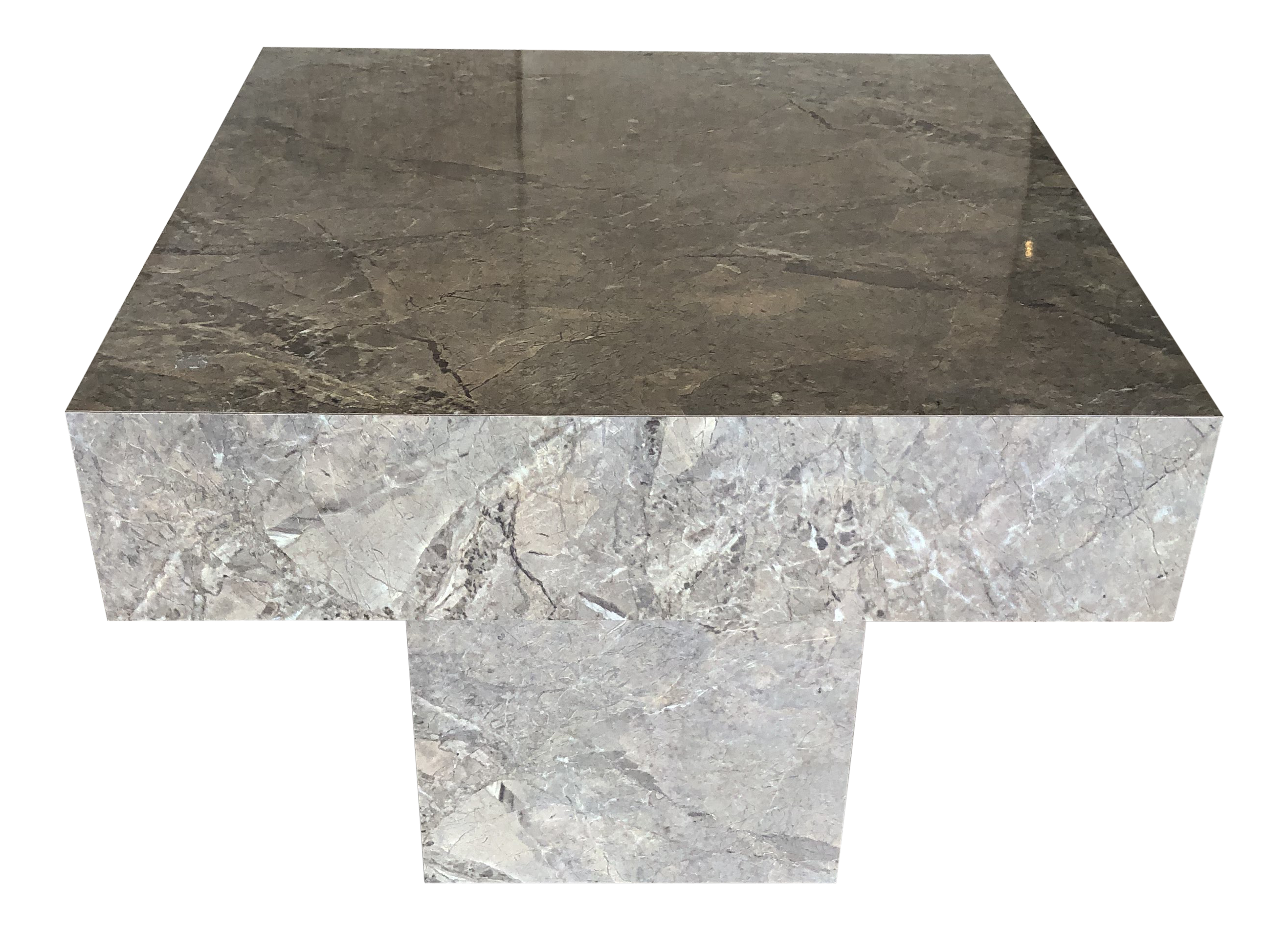 1980s Postmodern Faux Marble Cube Accent Table Chairish