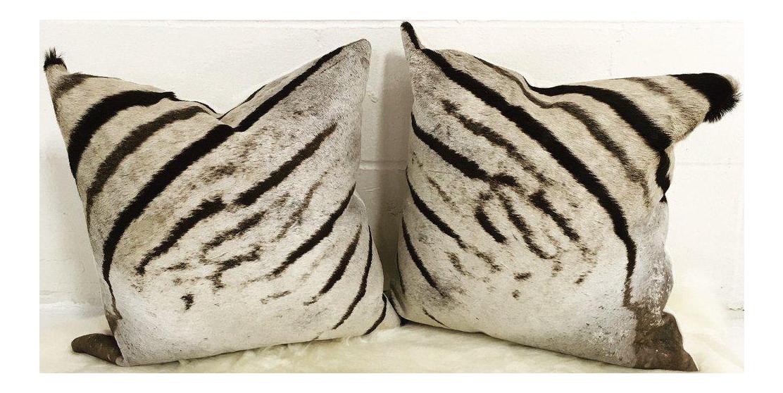 Real Animal Skin Pillows : Zebra Hide Pillows - A Pair Chairish