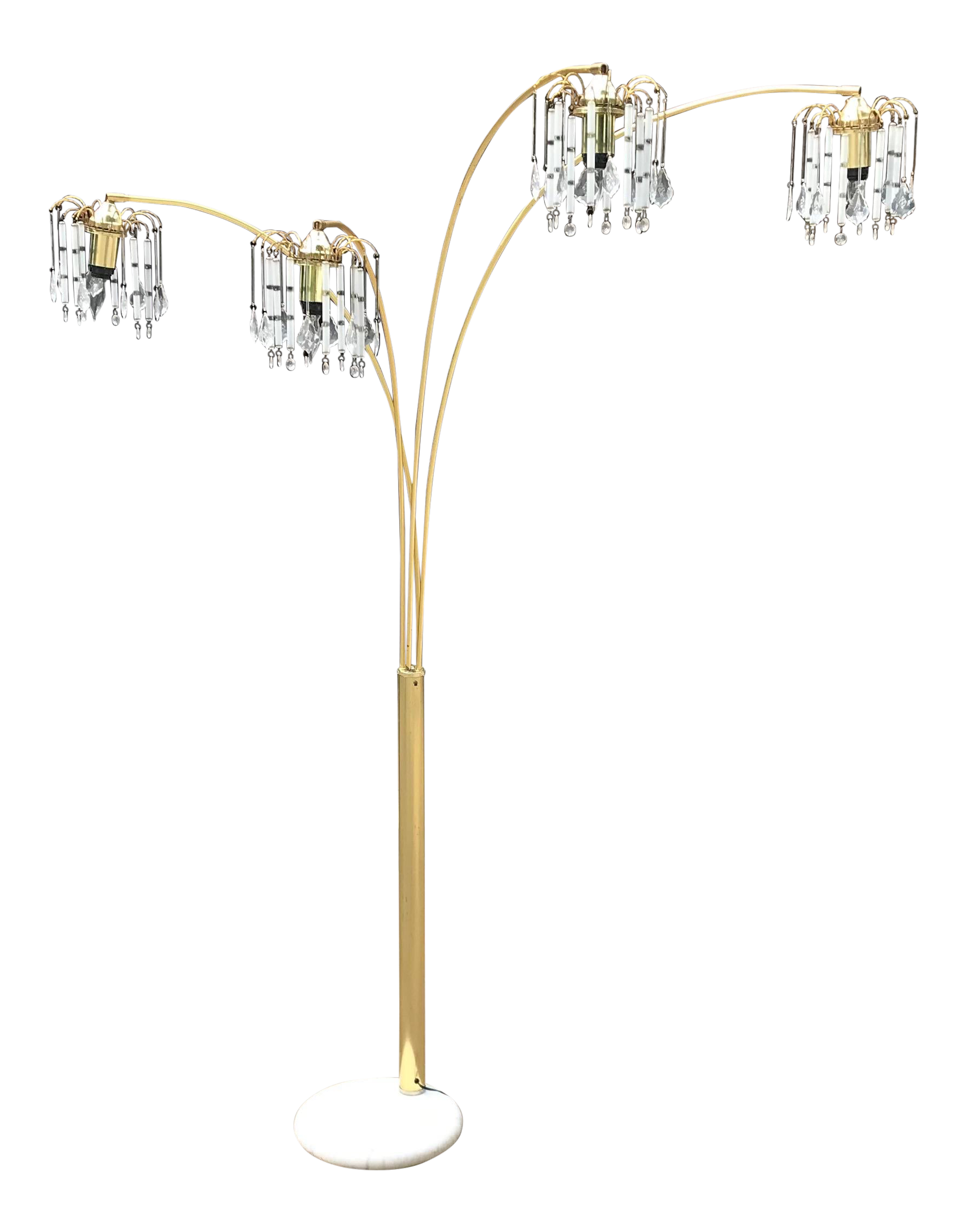 Vintage Mid Century Waterfall Floor Lamp With Marble Base Chairish