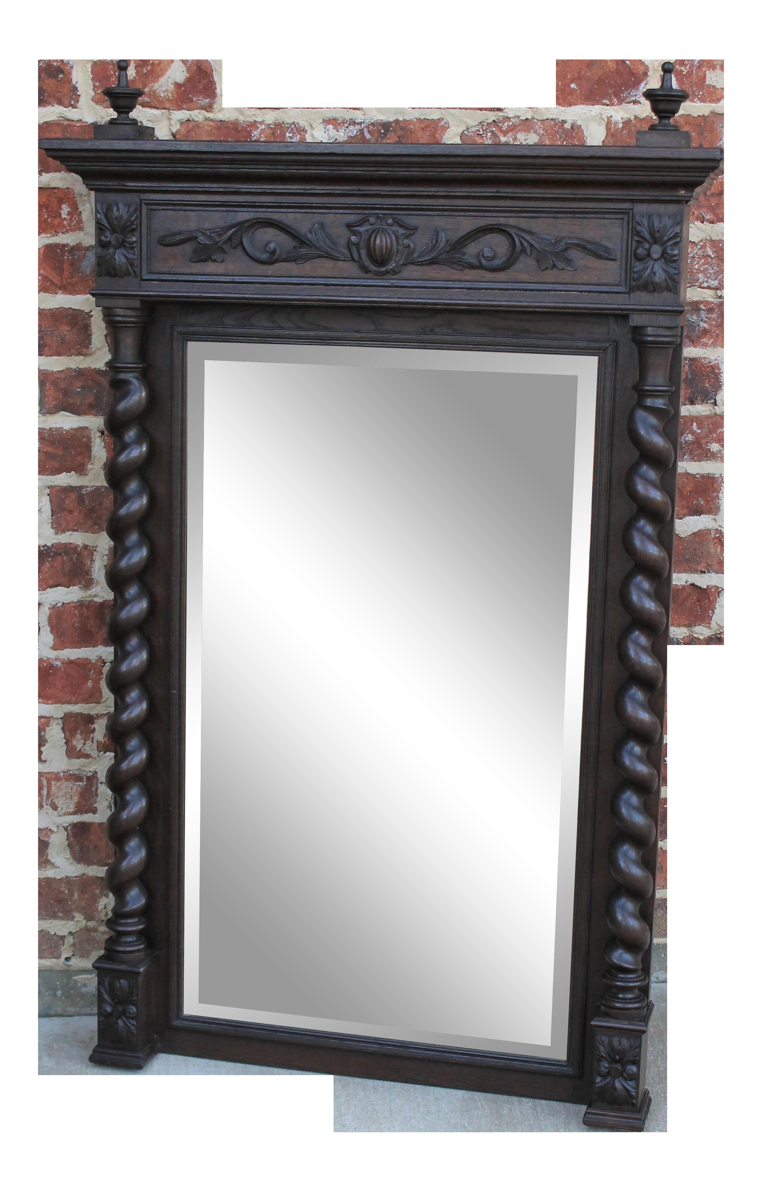 Antique English Oak Mirror Barley Twist Beveled Wall Pier Mantel Mirror Chairish