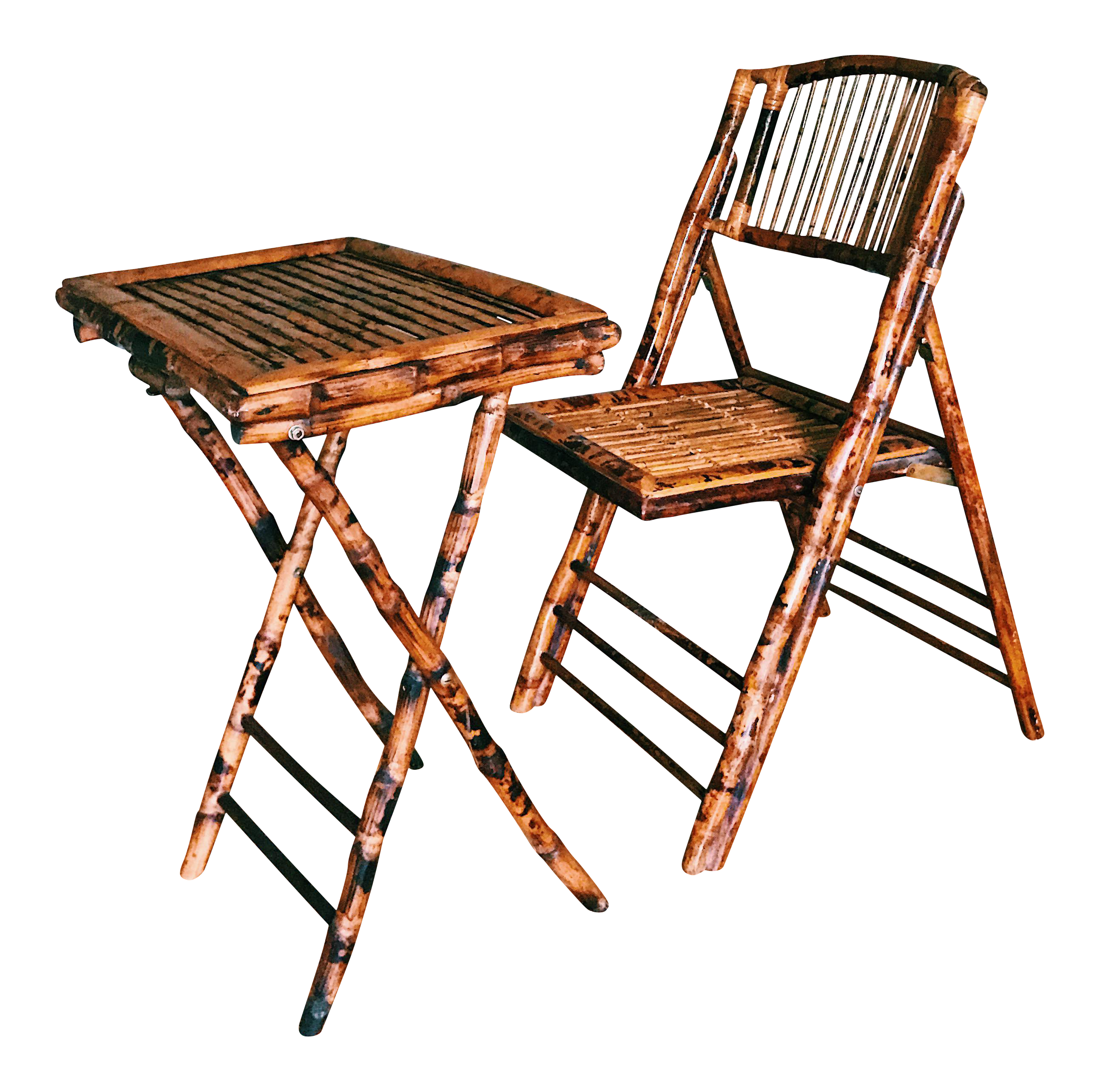 Vintage Burnt Tortoise Bamboo Folding Chair & Tray
