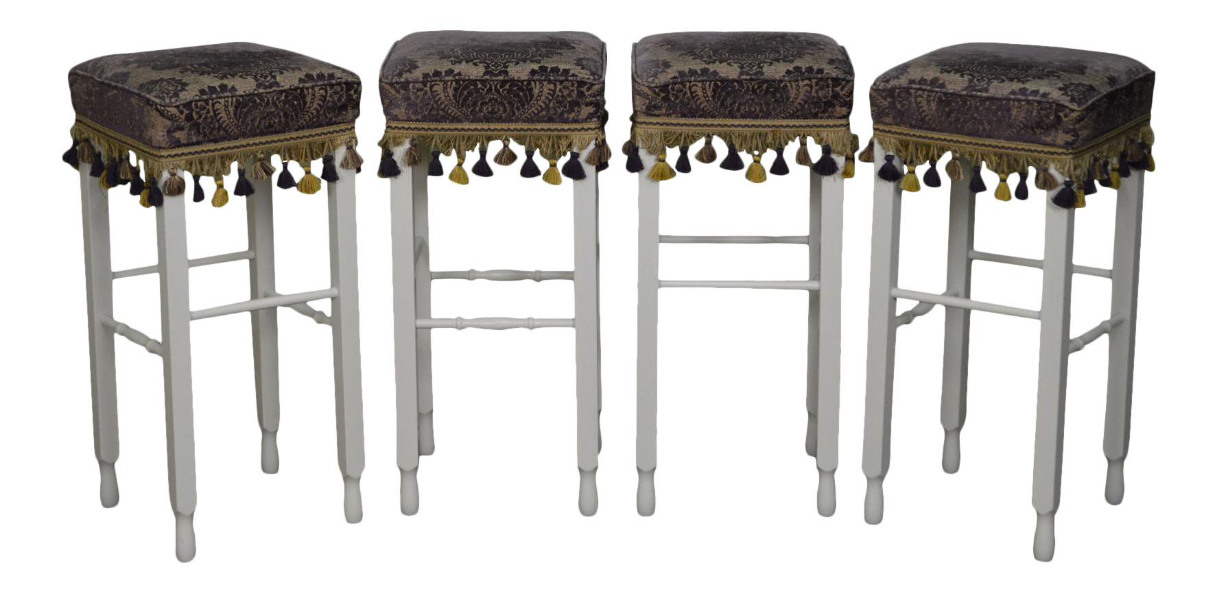 White Bar Stools w Upholstered Seats Set of 4 Chairish : white bar stools w upholstered seats set of 4 5442 from www.chairish.com size 1774 x 866 png 965kB