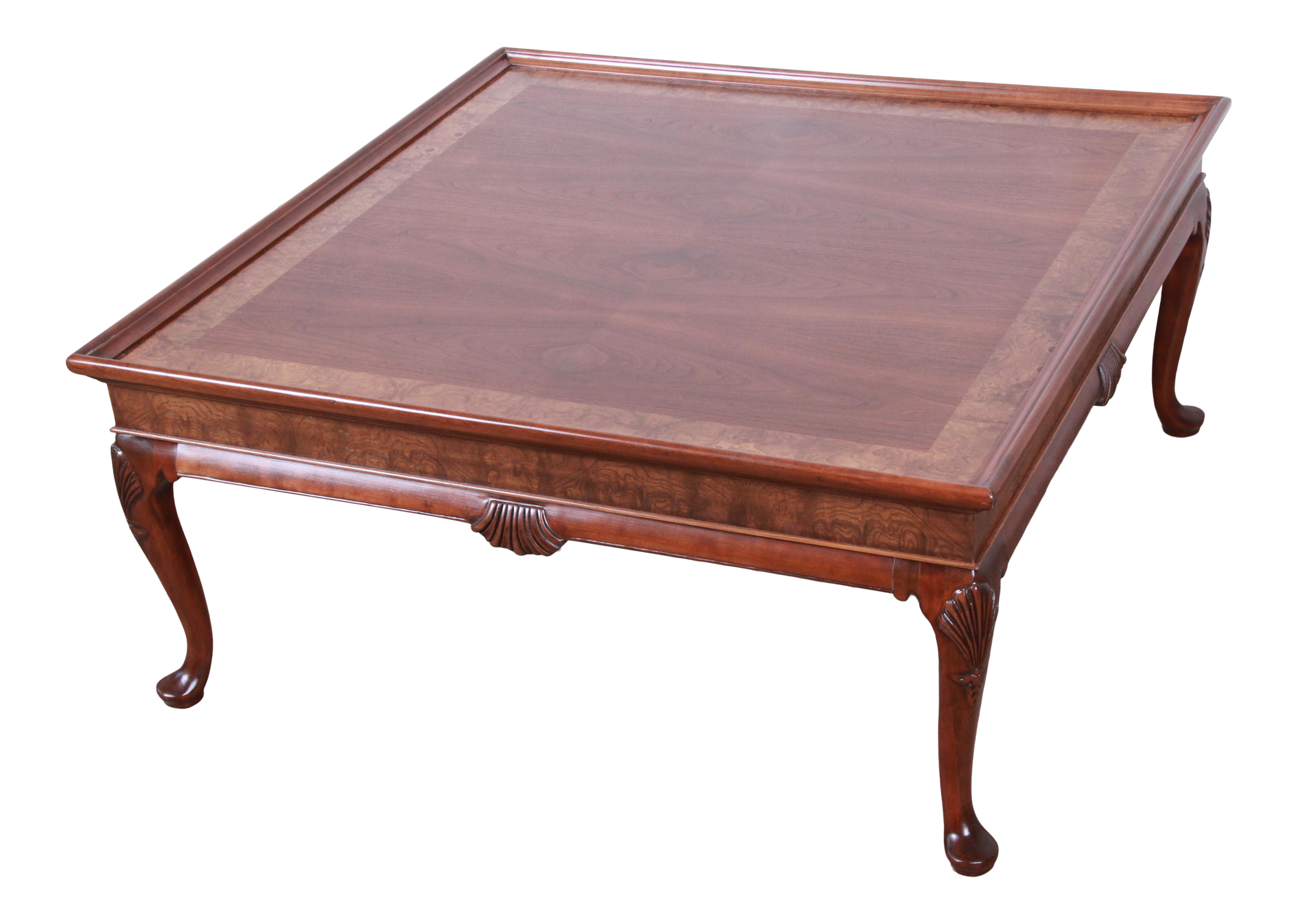 Picture of: Baker Furniture Queen Anne Walnut And Burl Wood Large Square Coffee Table Newly Refinished Chairish