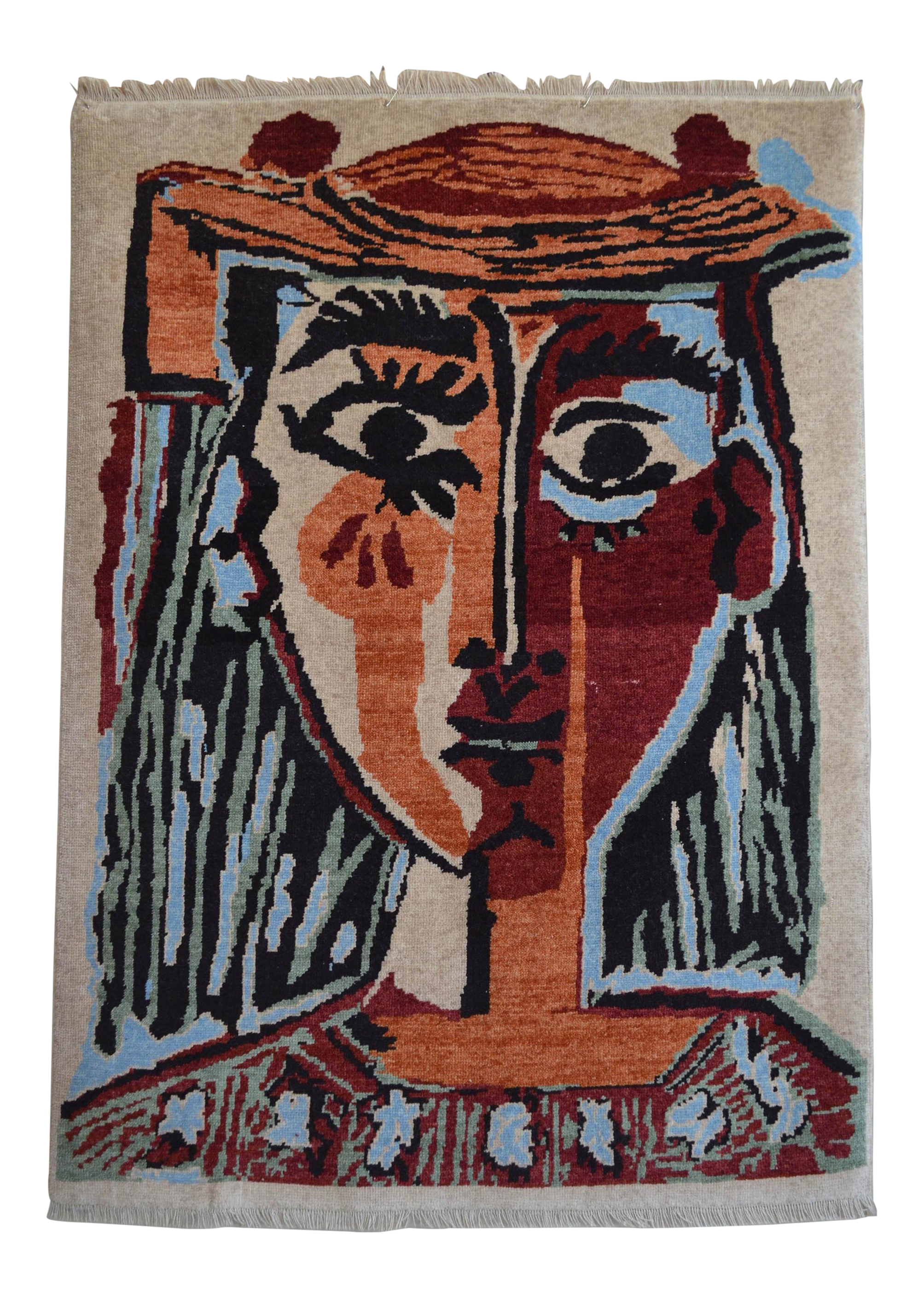 Pablo Picasso Bust Of A Woman Inspired Hand Knotted Area Rug Wall Rug 4 5 5 Chairish