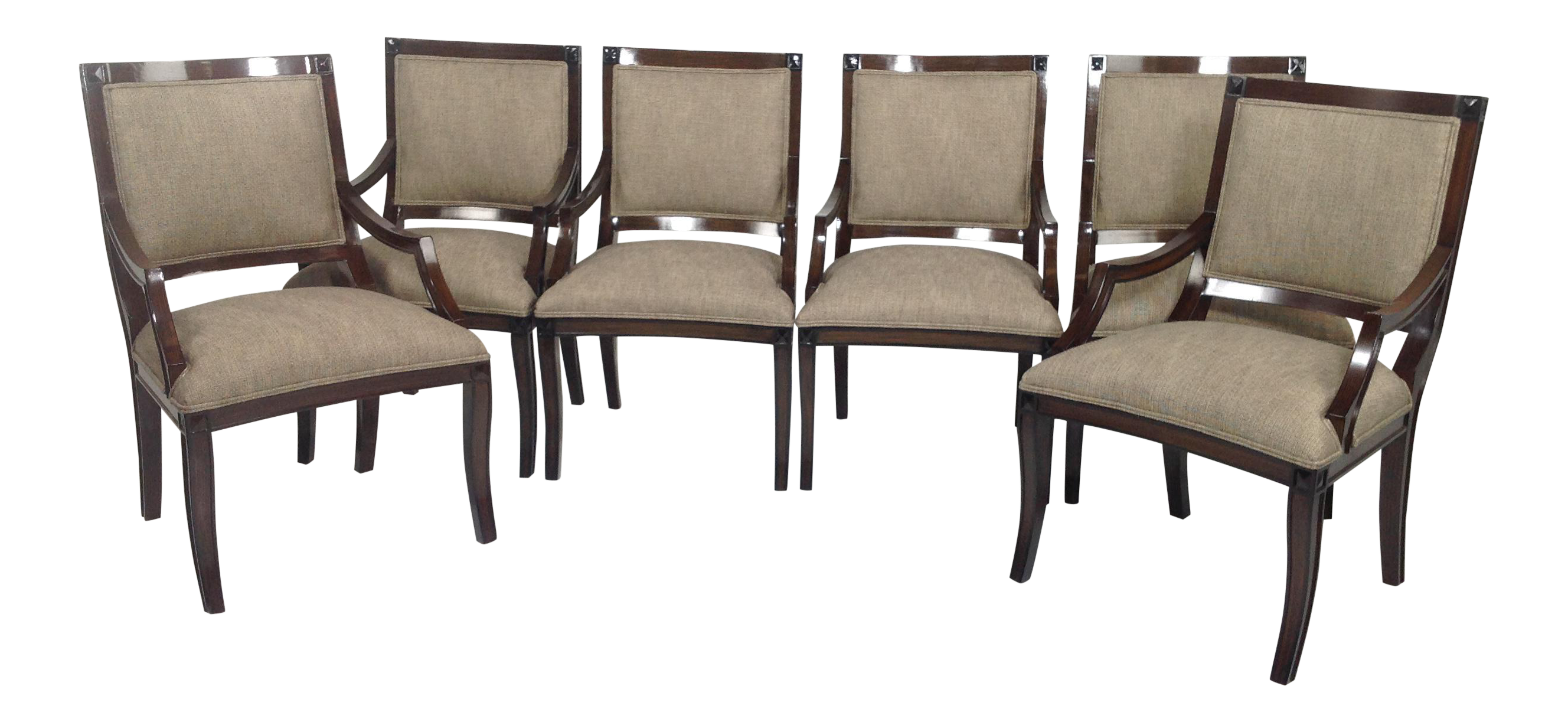Modern chenille dining chairs set of 6 chairish for Modern dining chairs ireland