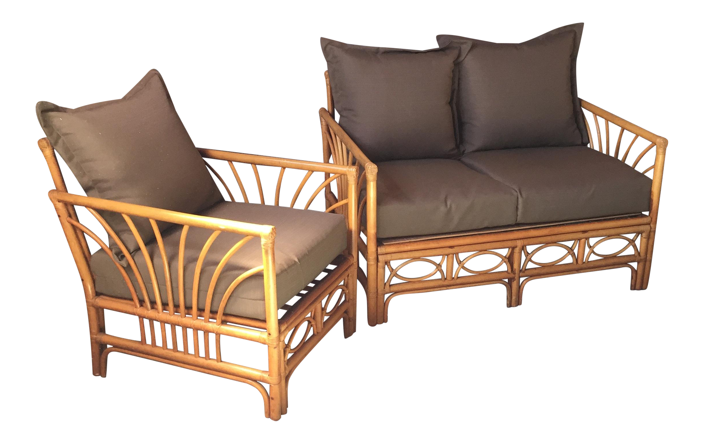 Vintage Rattan Bamboo Loveseat and Chair Set