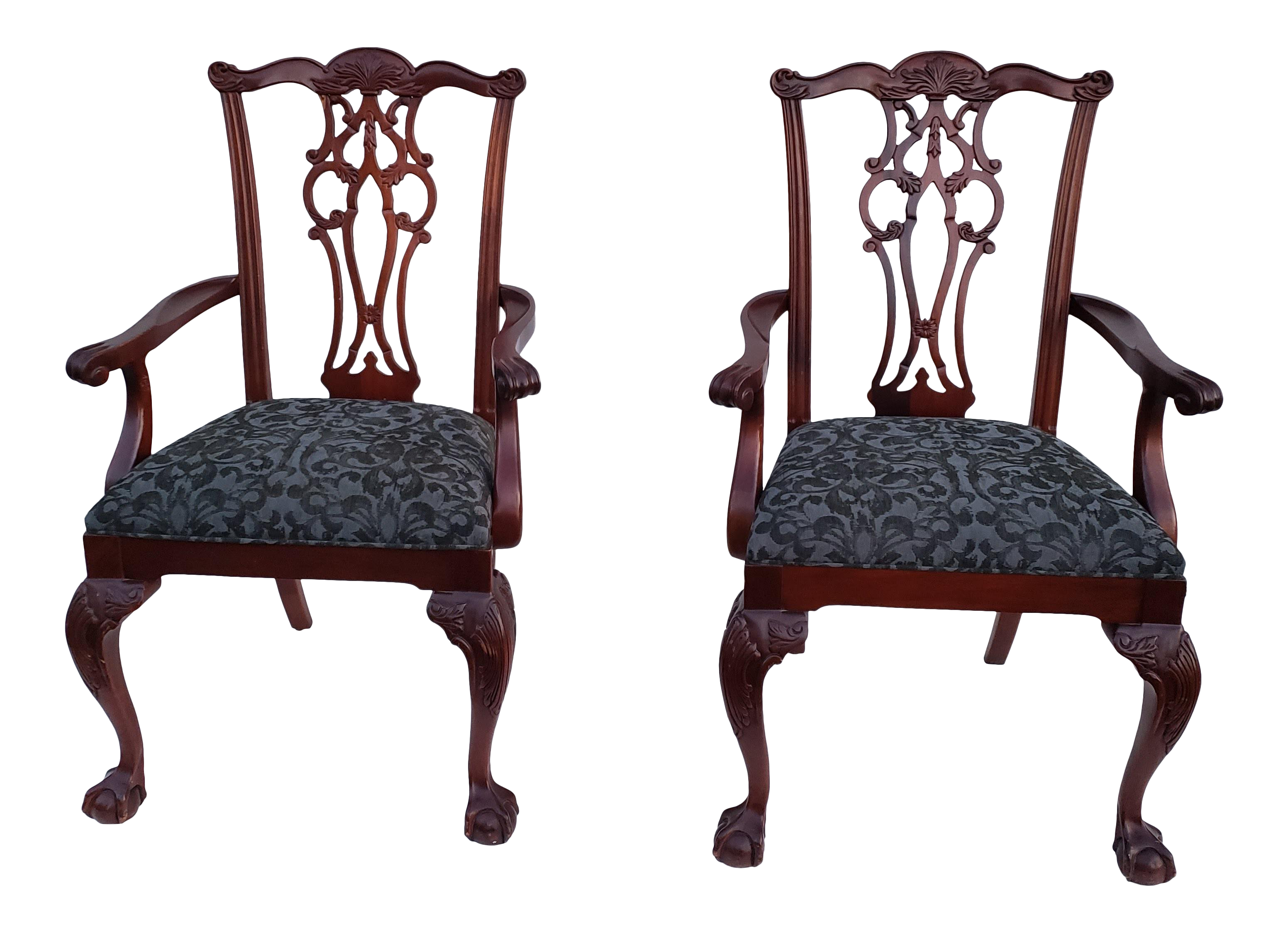 Modern ethan allen 18th century mahogany armchairs a pair chairish