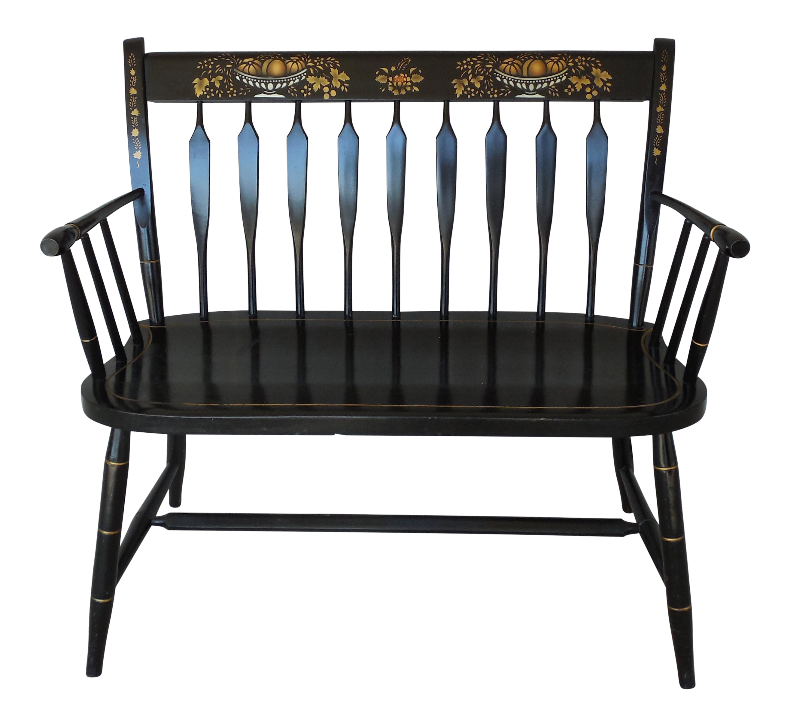 Fantastic Nichols Stone Arrow Back Hitchcock Style Stenciled Bench Settee 35W Frankydiablos Diy Chair Ideas Frankydiabloscom