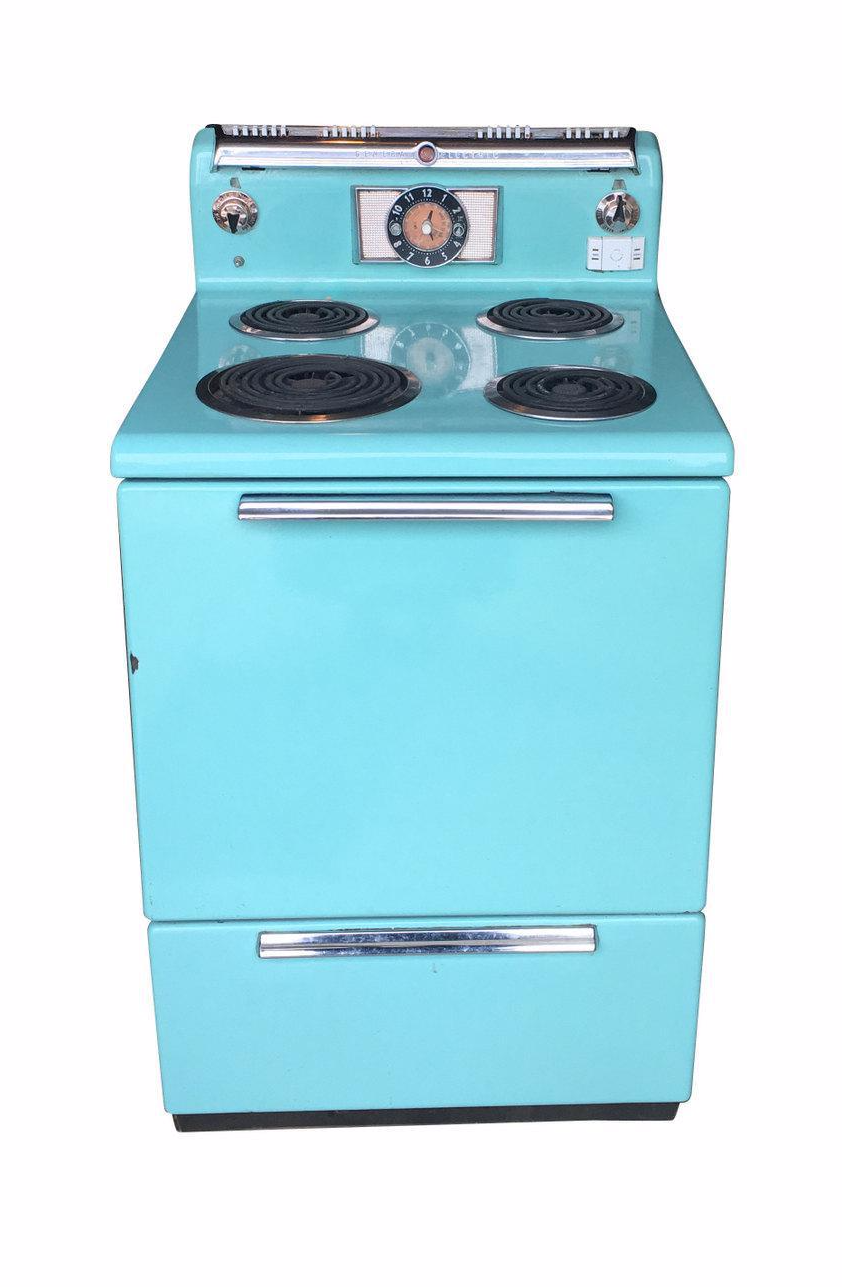 1950s Vintage General Electric Turquoise Stove | Chairish