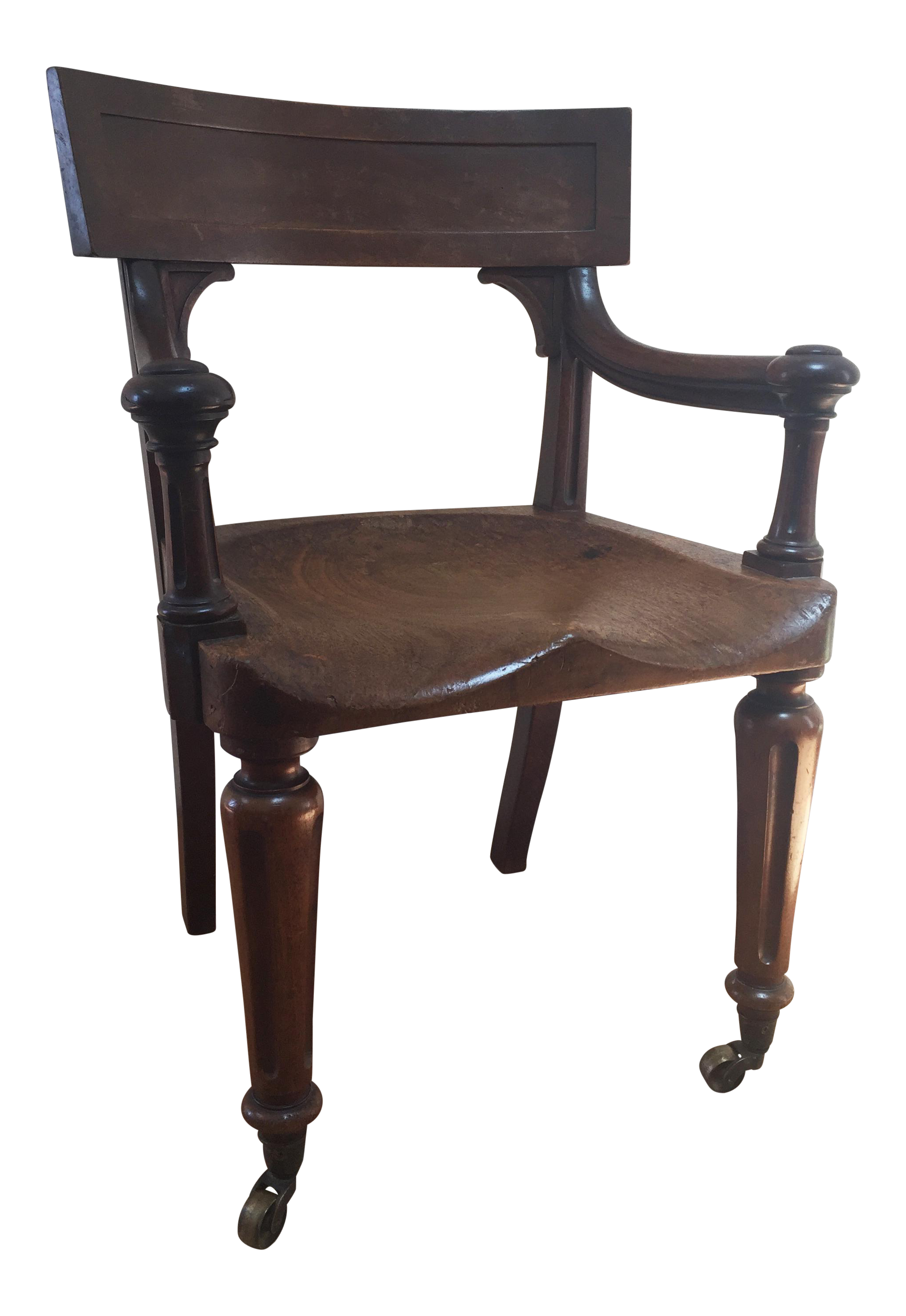 Sophisticated Beautifully Carved 19Th Century English Desk Chair On Castors