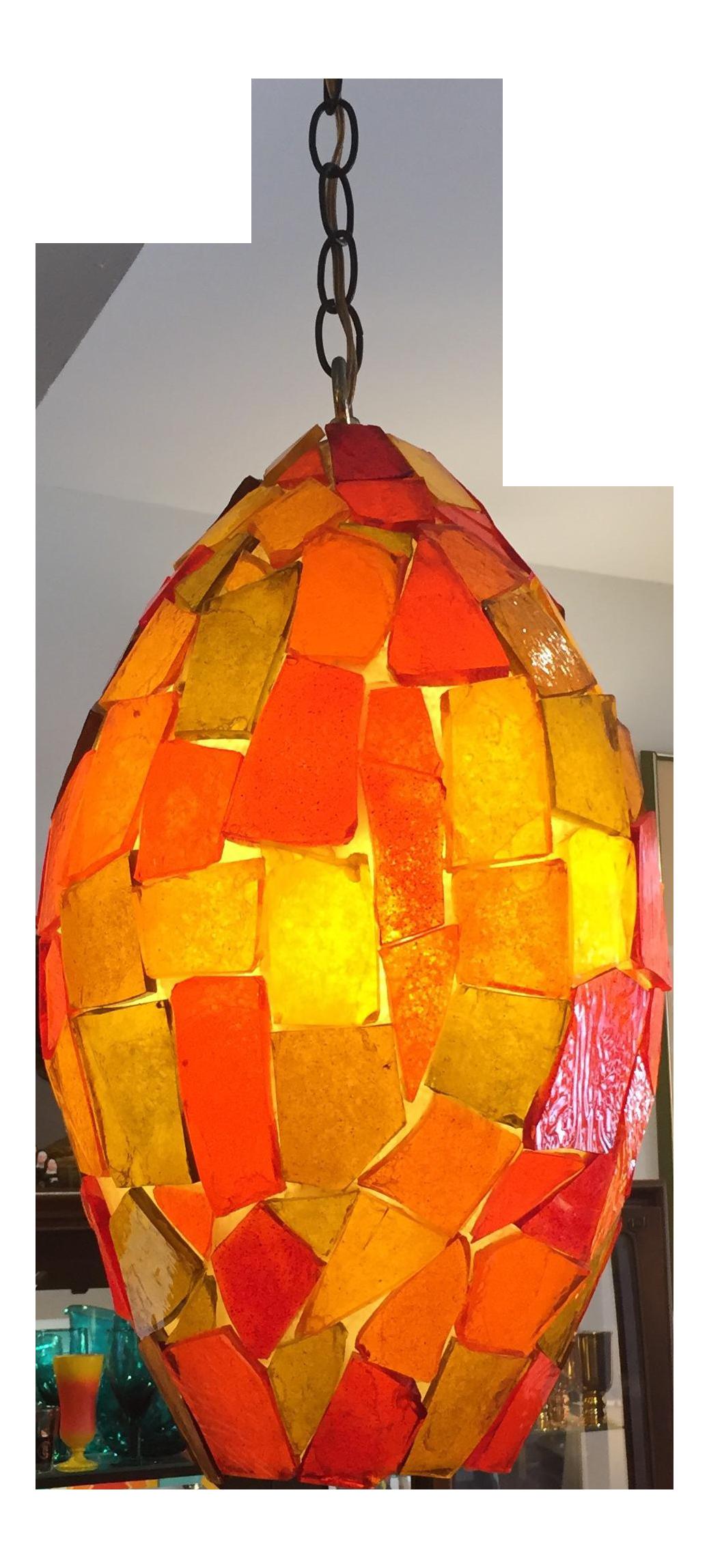 Mid Century Orange Glass Chandelier