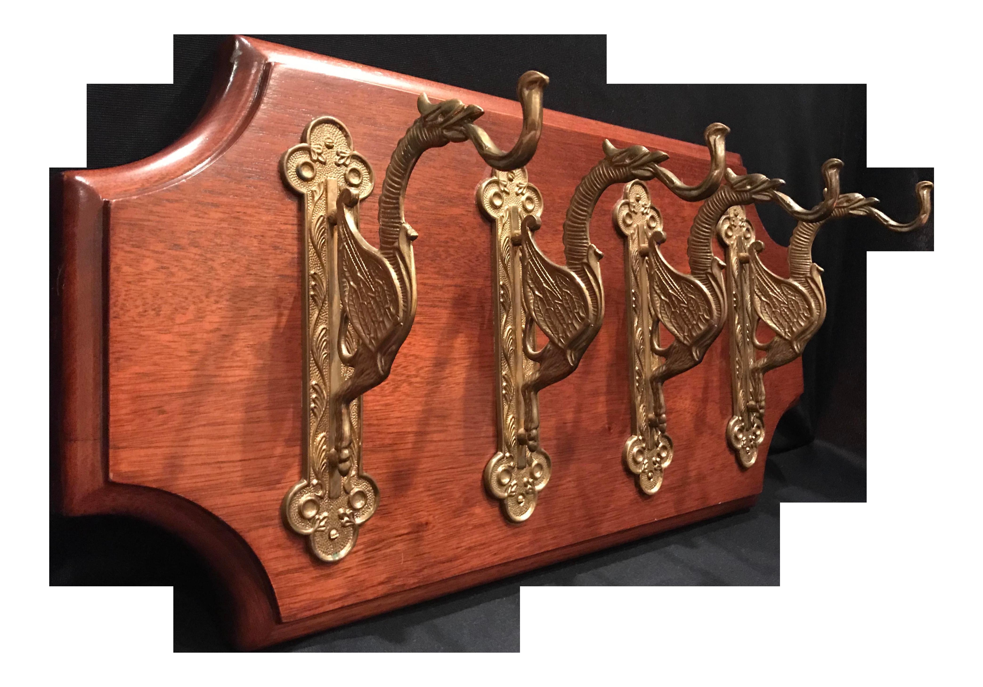 """Vintage Coat Rack of 4 Solid Brass """"Griffin"""" Cloak Hooks on"""