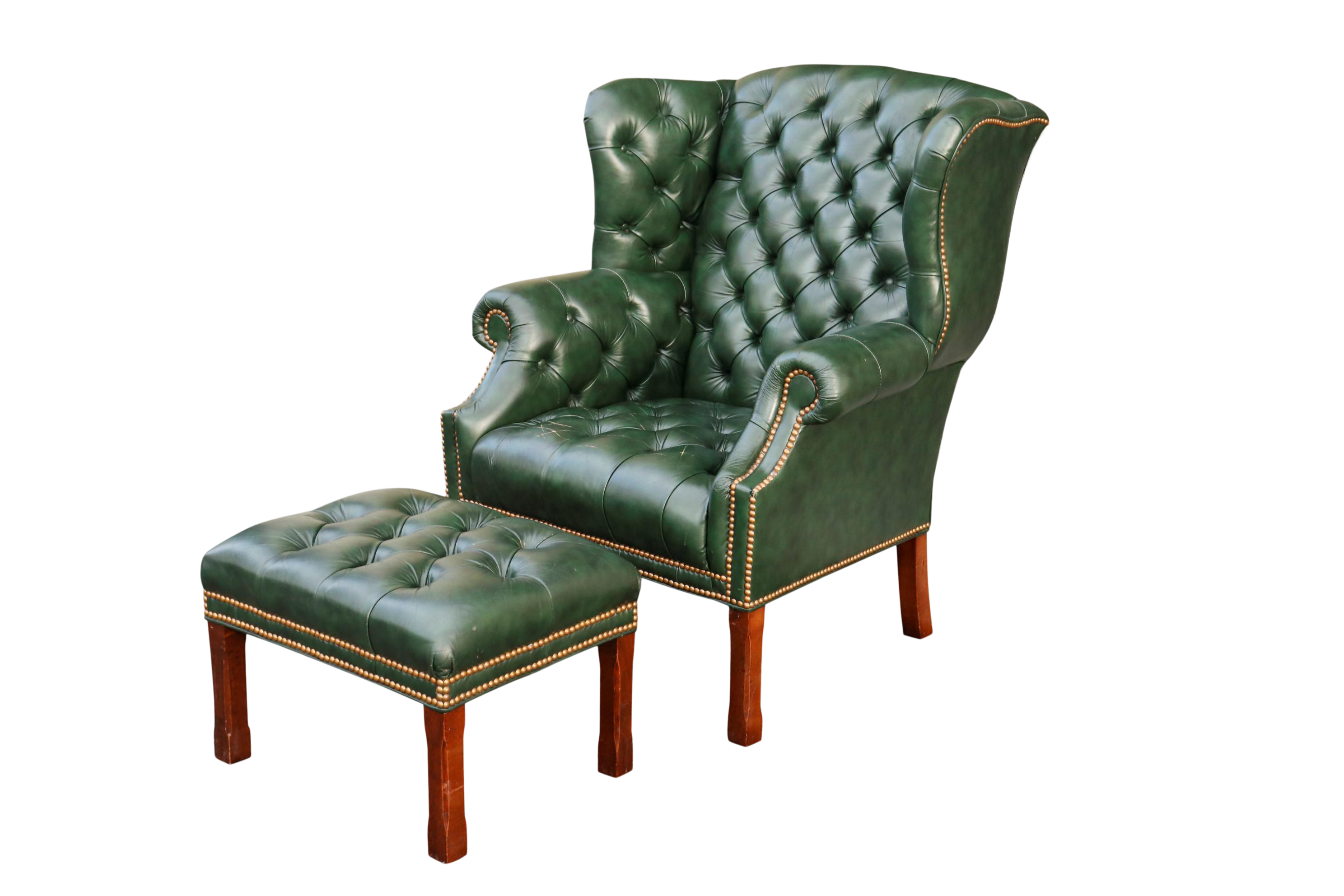 Tufted Green Leather Wingback Chair Ottoman