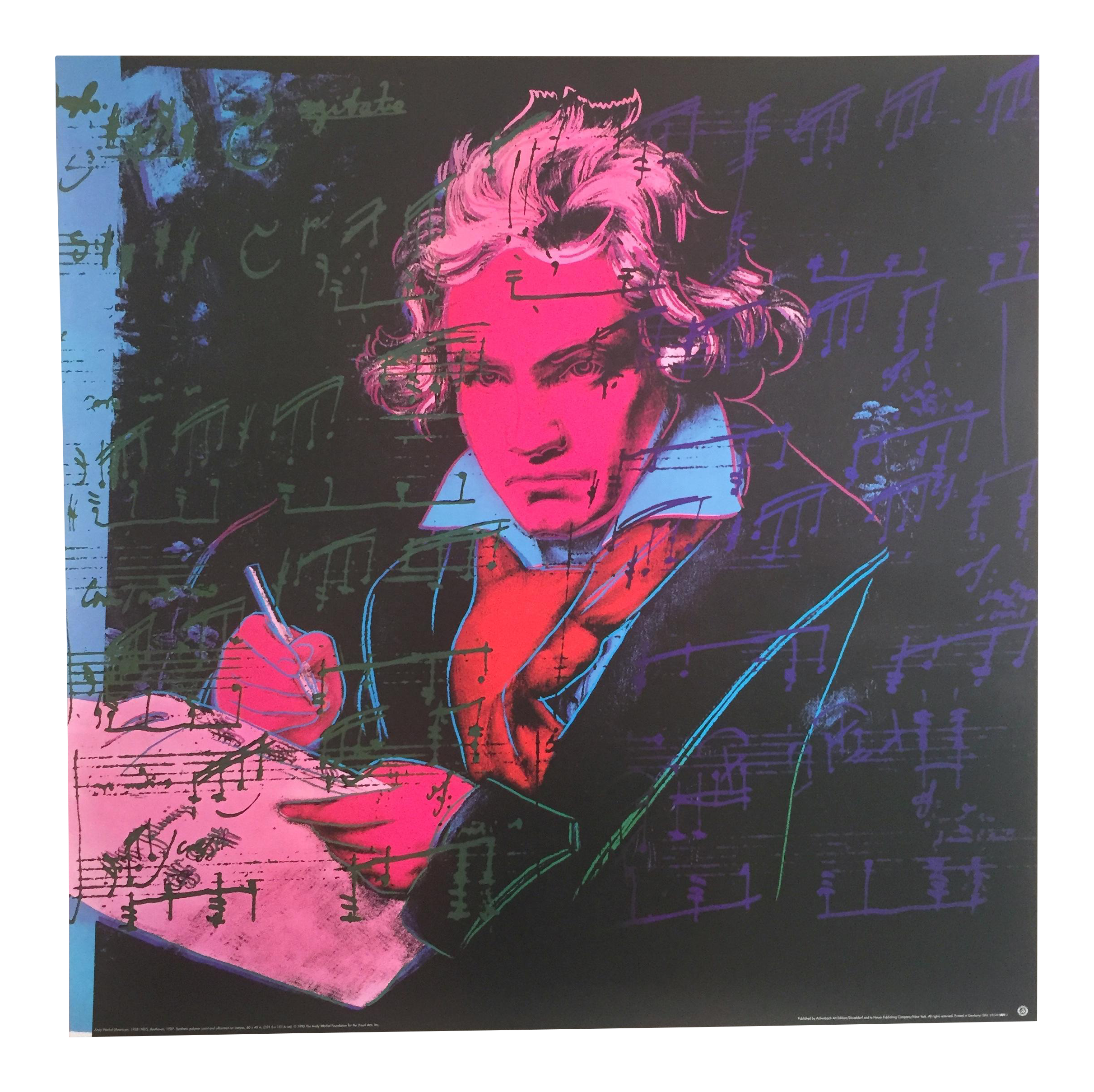 Andy Warhol Original Offset Lithograph Poster Of Beethoven In Pink Chairish