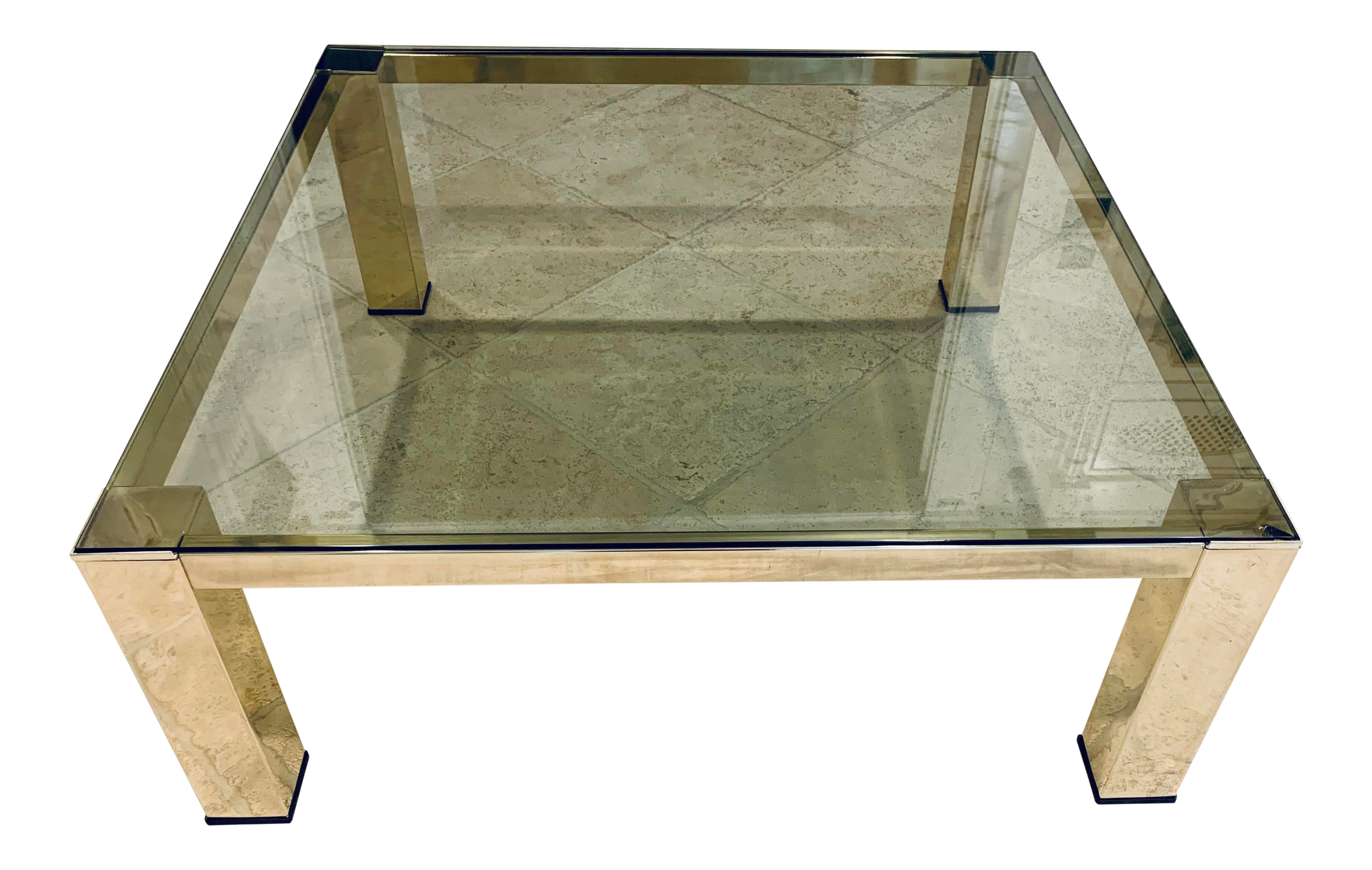 Picture of: Mid Century Modern Italian Brass And Glass Low Coffee Table Chairish