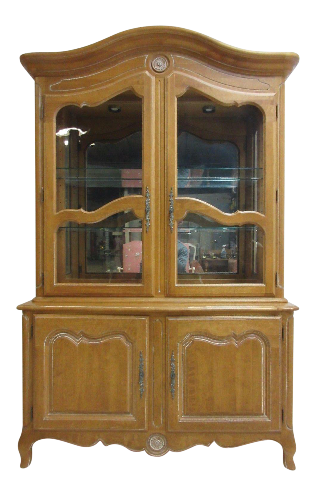 Ethan Allen Country French Bisque China Cabinet Hutch Curio Display |  Chairish