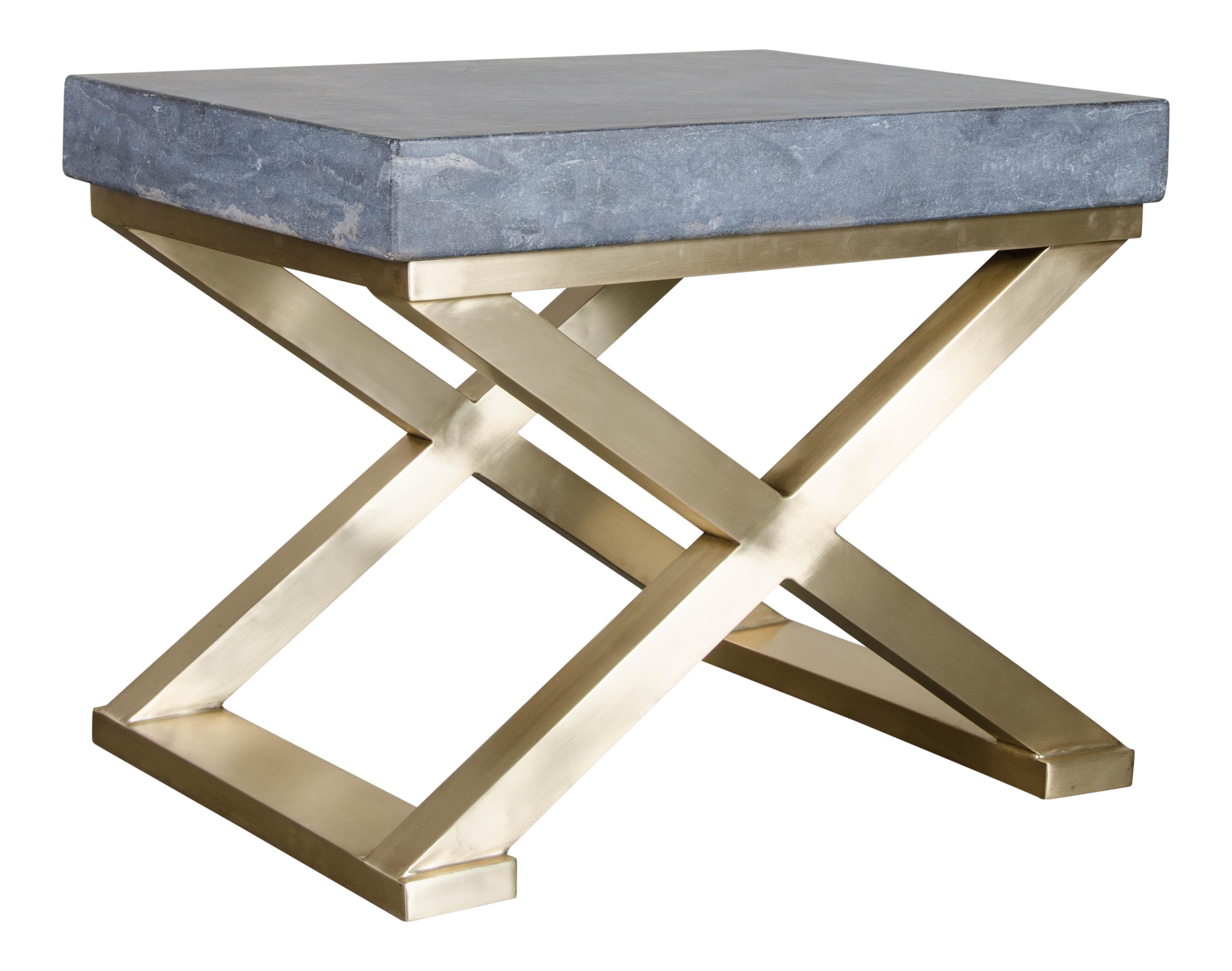 Brass Cross Leg Table With Stone Top