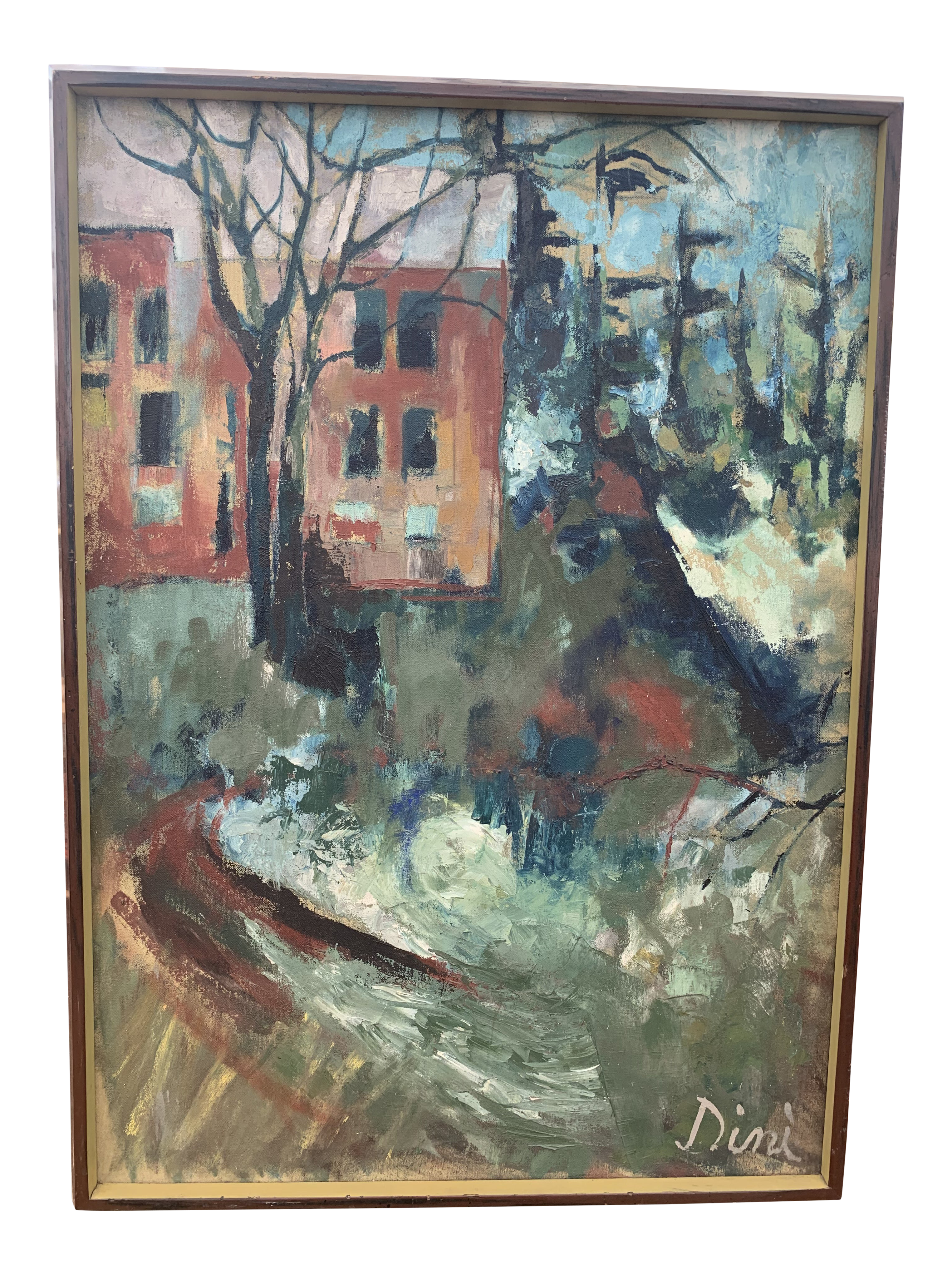Picture of: 1970s Mid Century Modern Landscape Painting By Dini Chairish