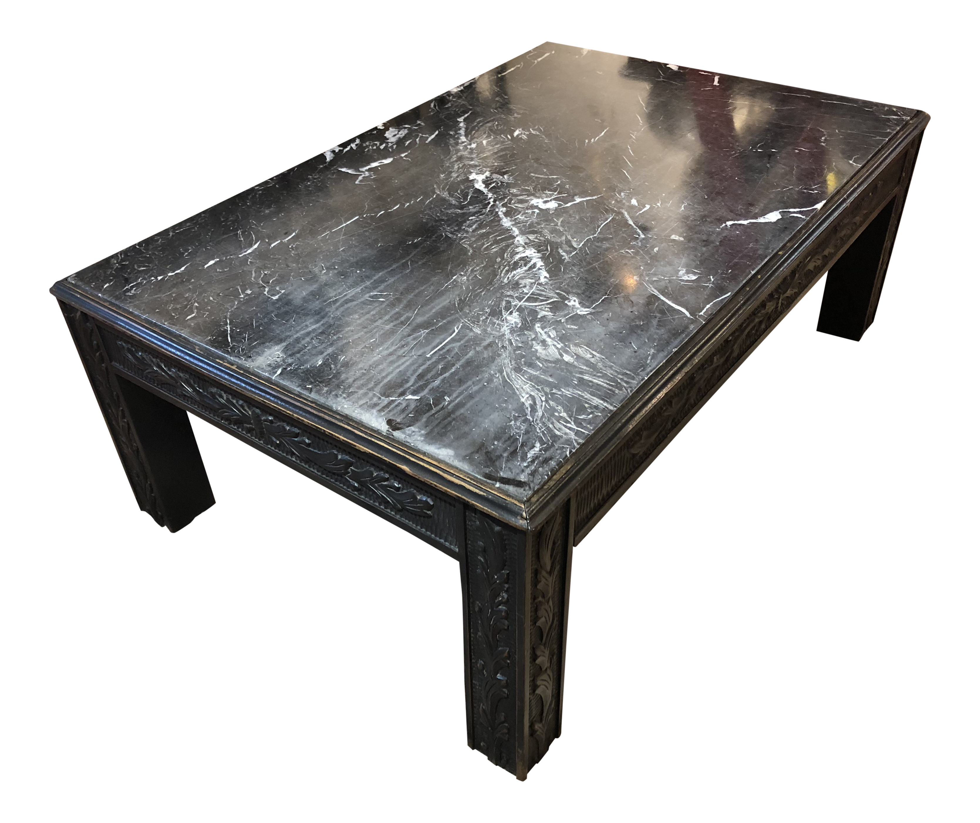 Brilliant Black Marble Top Cocktail Table With Distressed Carved Wooden Base Ncnpc Chair Design For Home Ncnpcorg