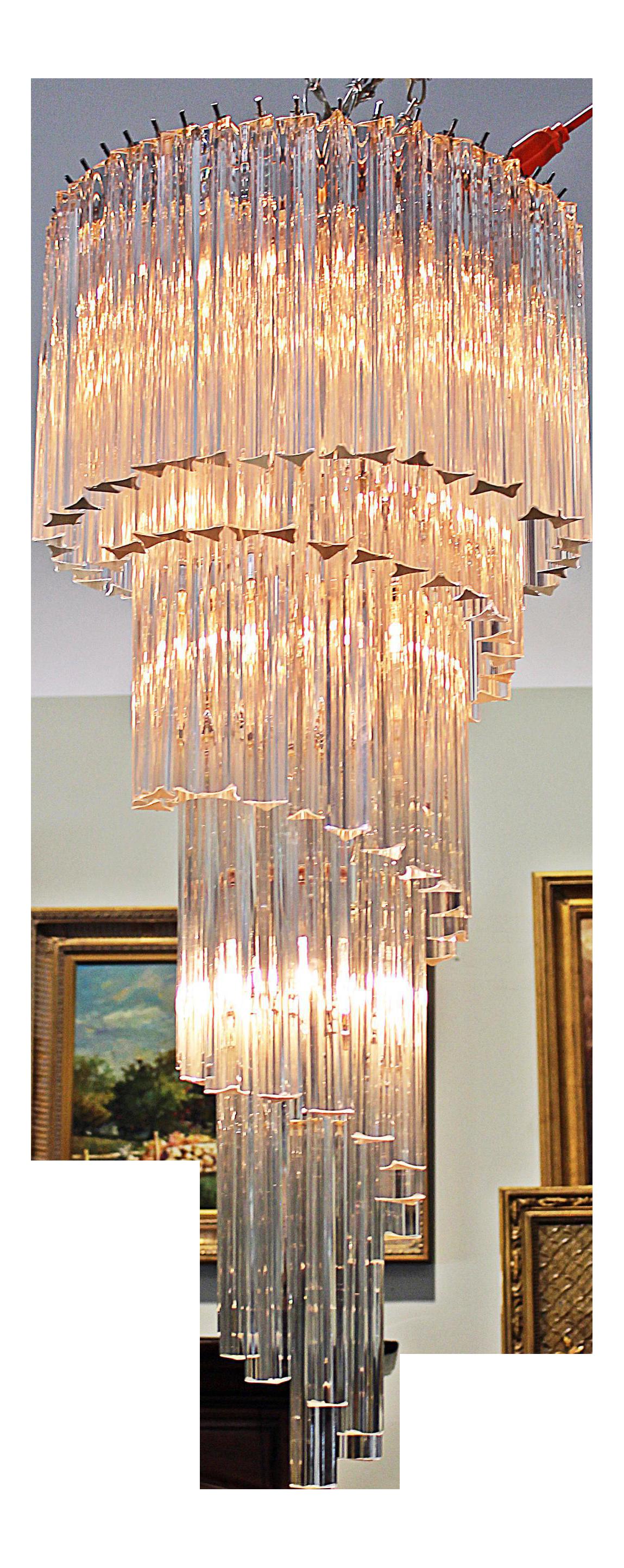 Italian Crystal Spiral Modern Chandelier | Chairish for modern chandelier png  58lpg