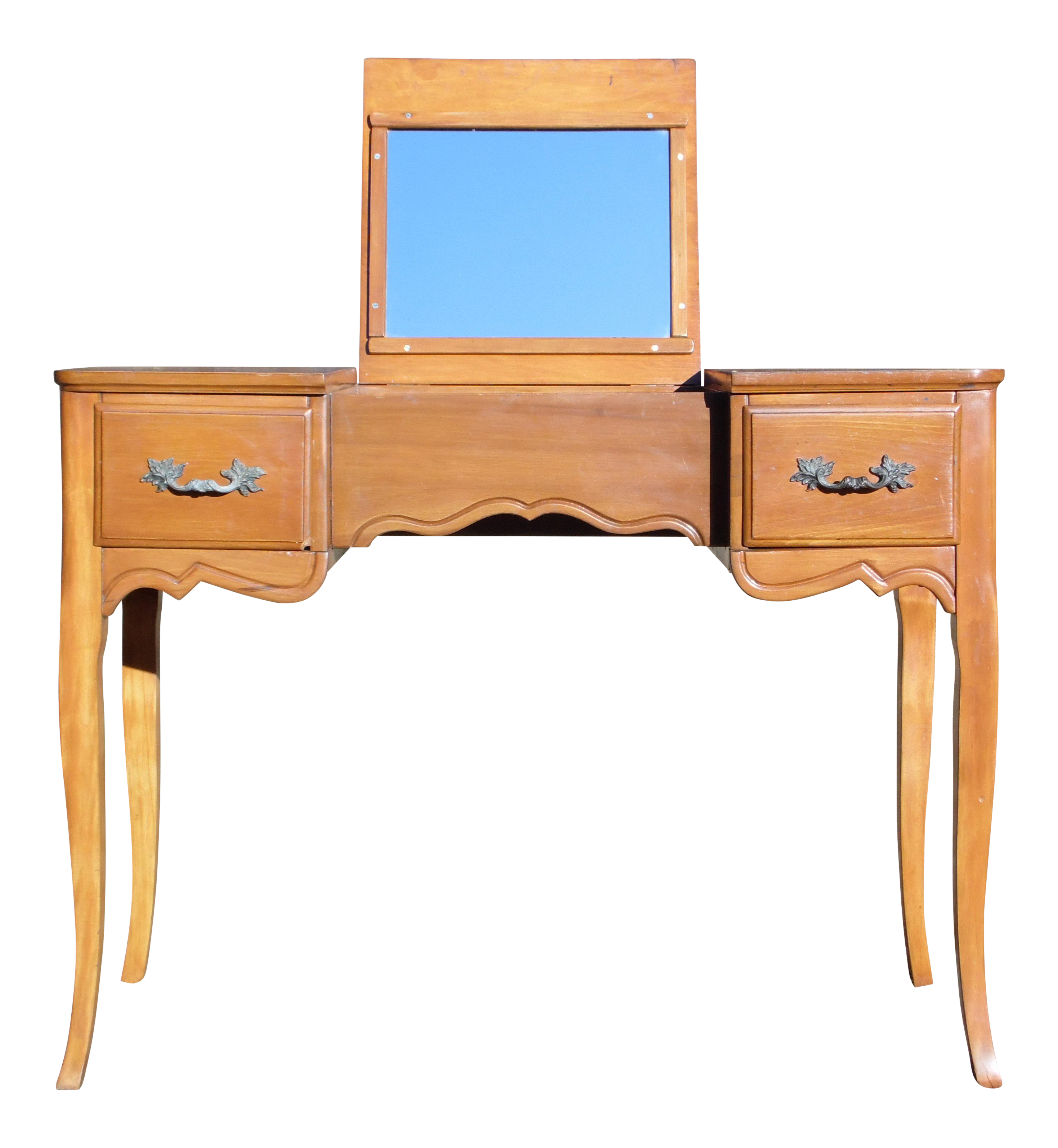 Vintage French Provincial Style Maple Writing Desk Dressing Table Vanity Flip Up Mirror Chairish