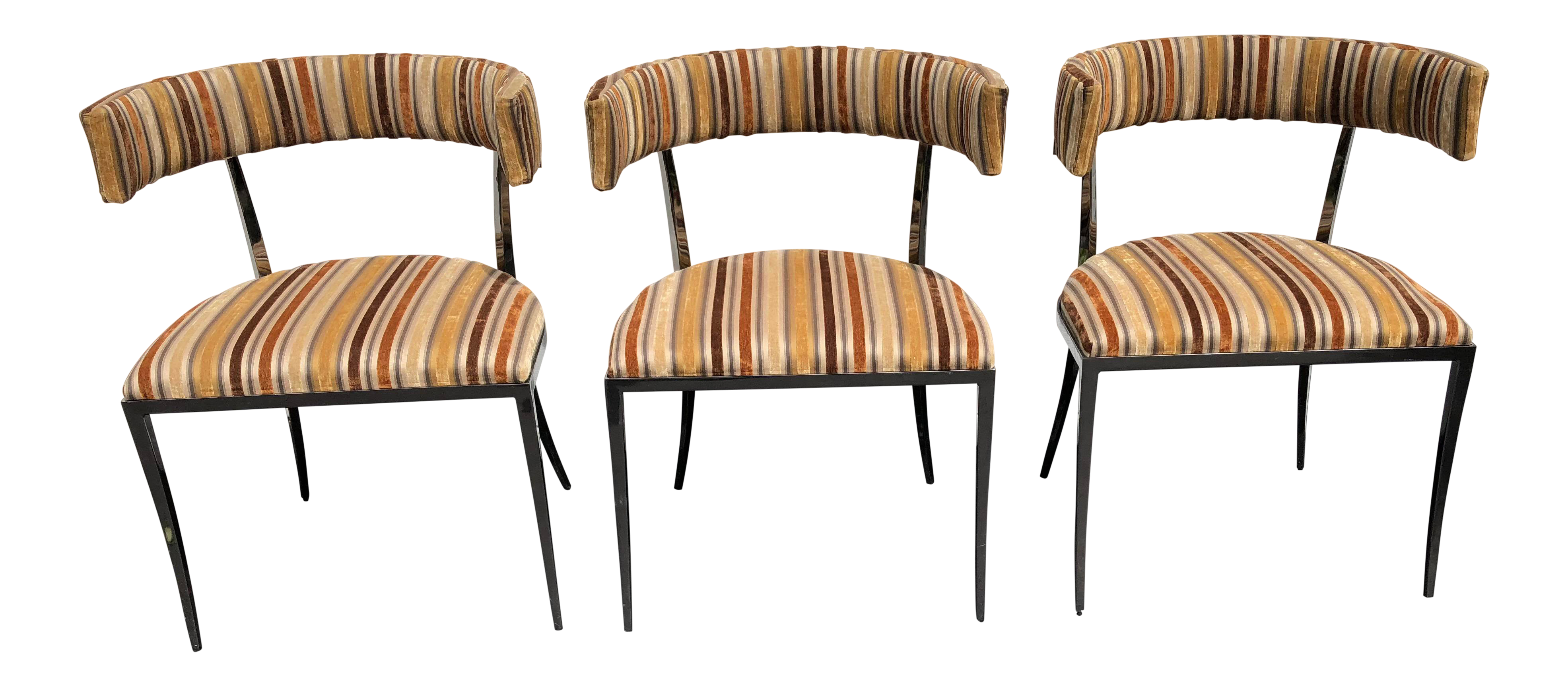 Vintage Vanguard Furniture Black Nickle Velvet Accent Chairs Set