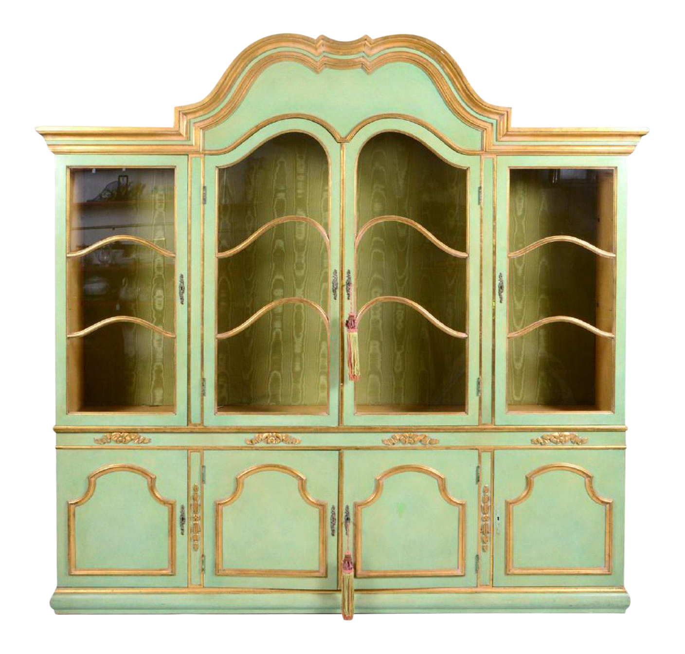 Italian Baroque Style Parcel Gilt Green Painted Cabinet | Chairish
