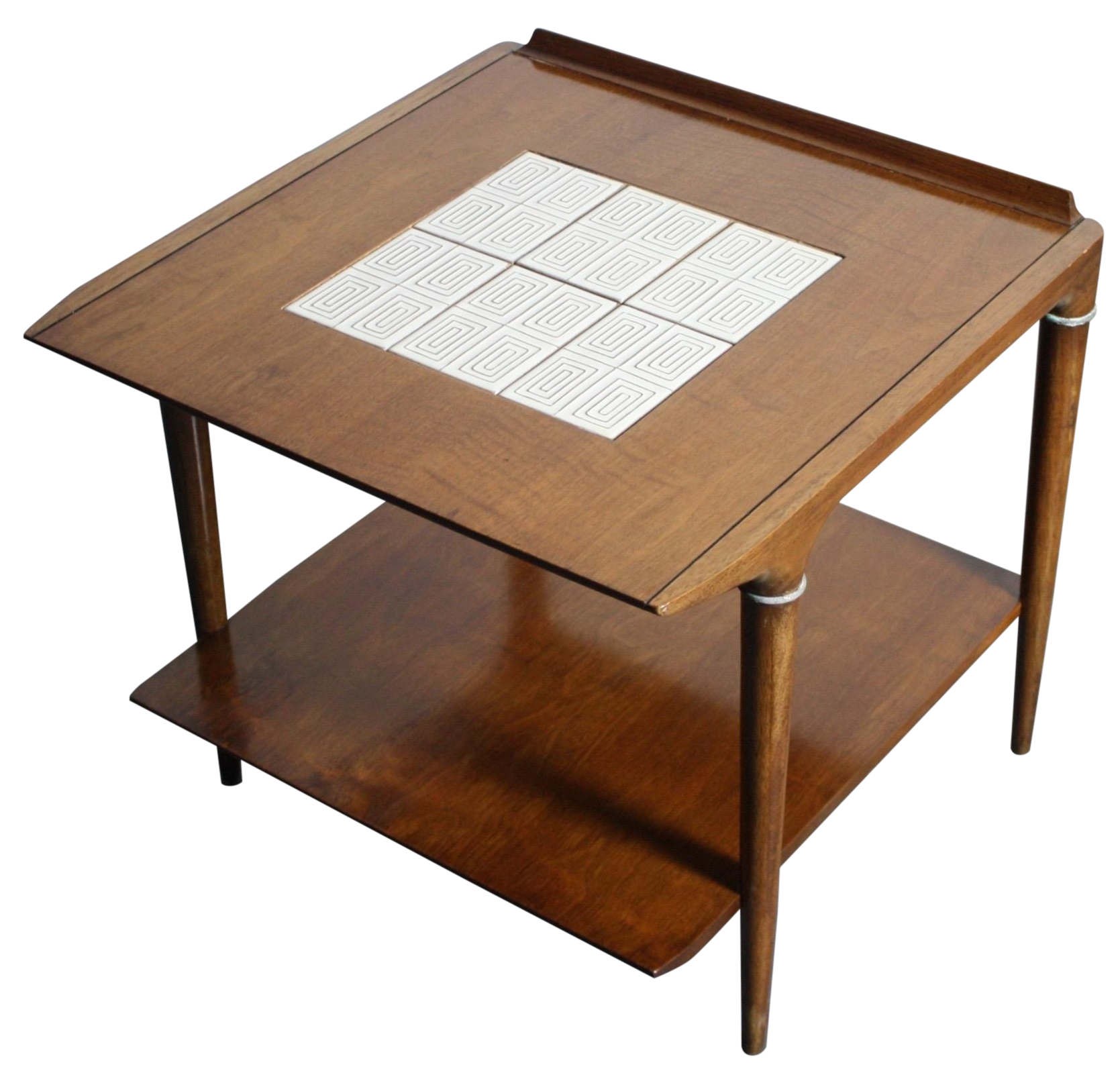 Mid Century Lane Teak End Table With Tile Inlay Chairish - Coffee table with tile inlay