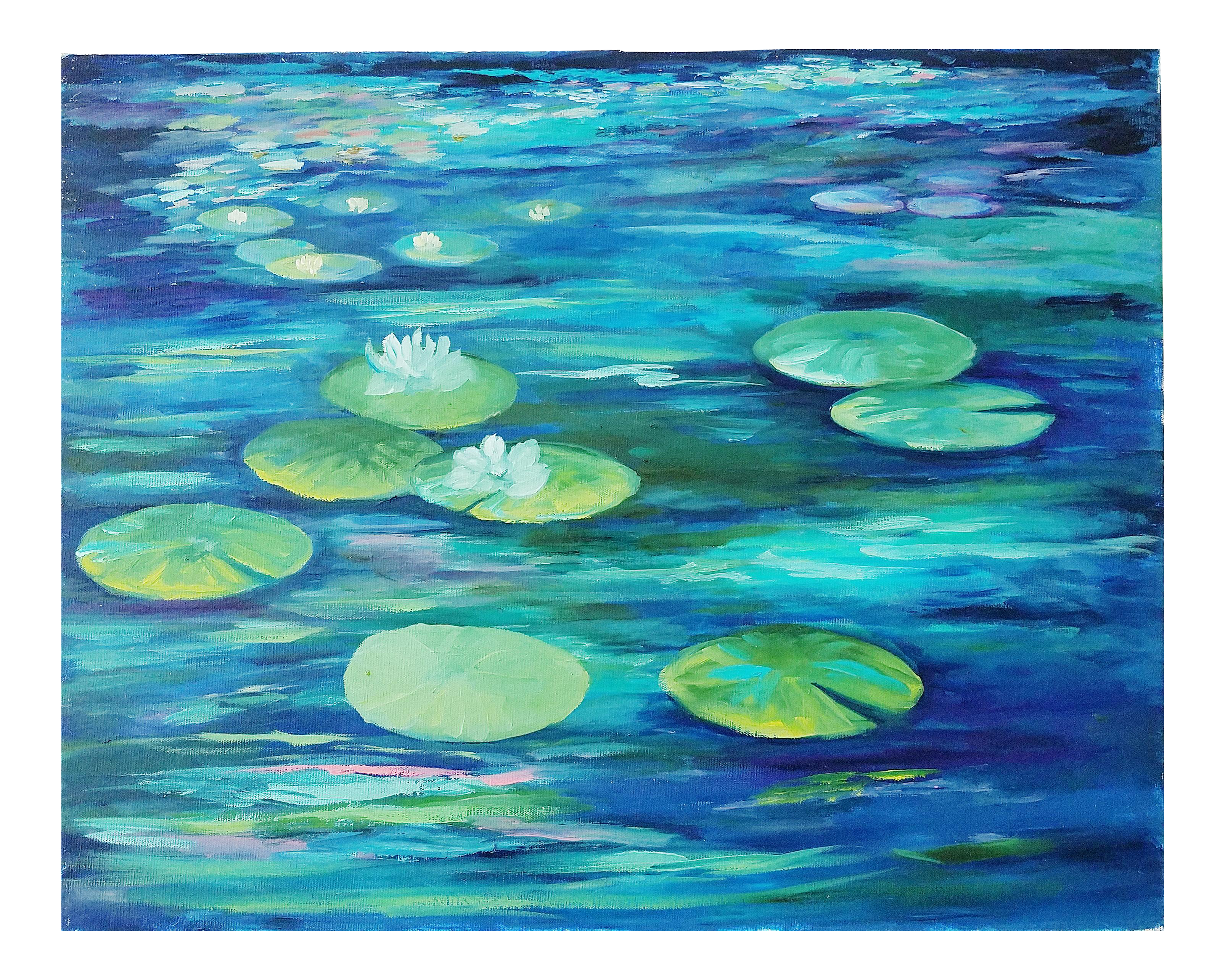 Water Lily Pads And Lotus Flowers Acrylic On Canvas Original