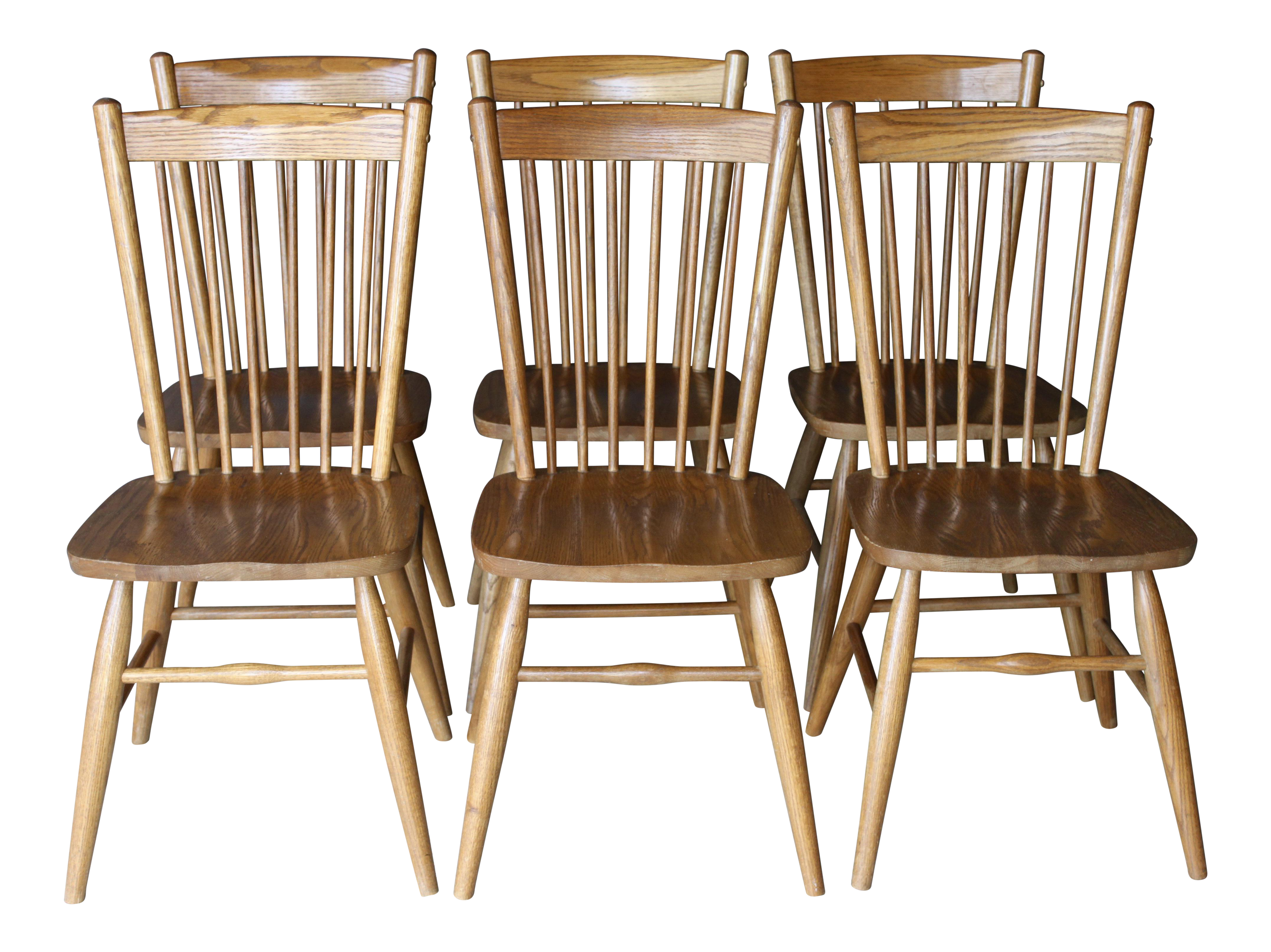 Vintage Hand Made Solid Oak Shaker Primitive Style Spindle Back Dining  Chairs Set Of 6 | Chairish