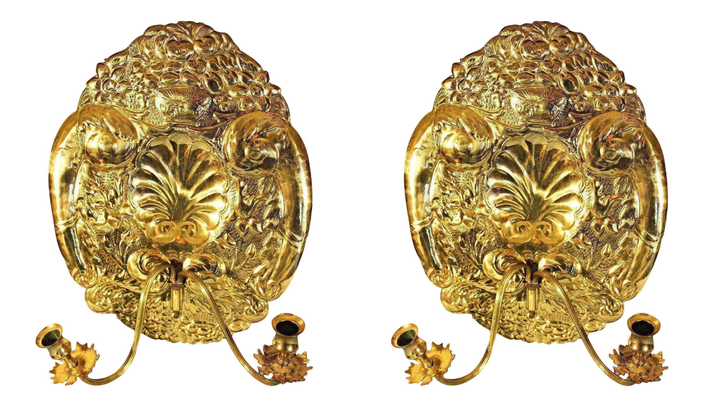 Mottahedeh Double Baroque Repousse Brass Wall Sconces - A Pair ...