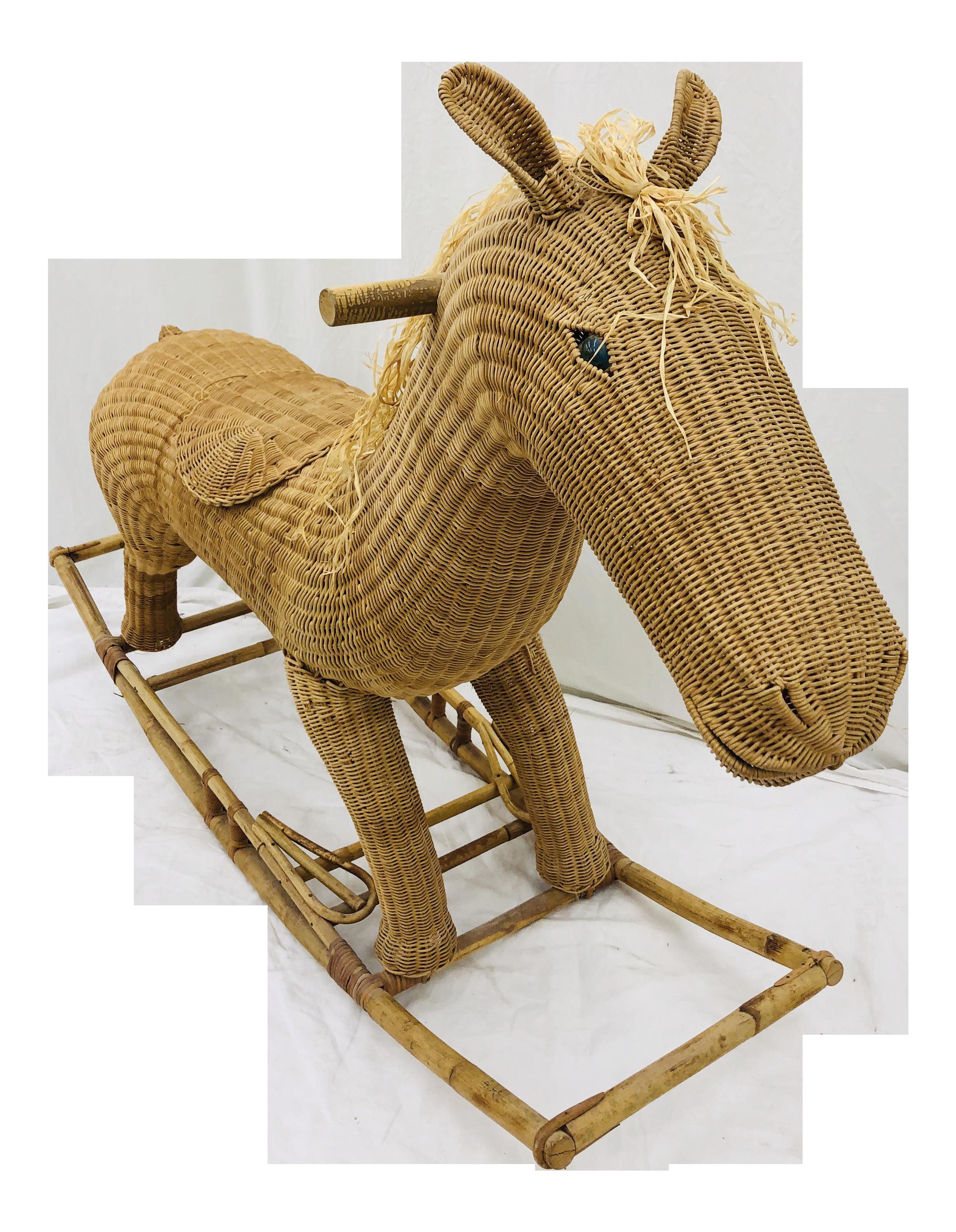 Vintage Wicker Rattan Rocking Horse Chairish