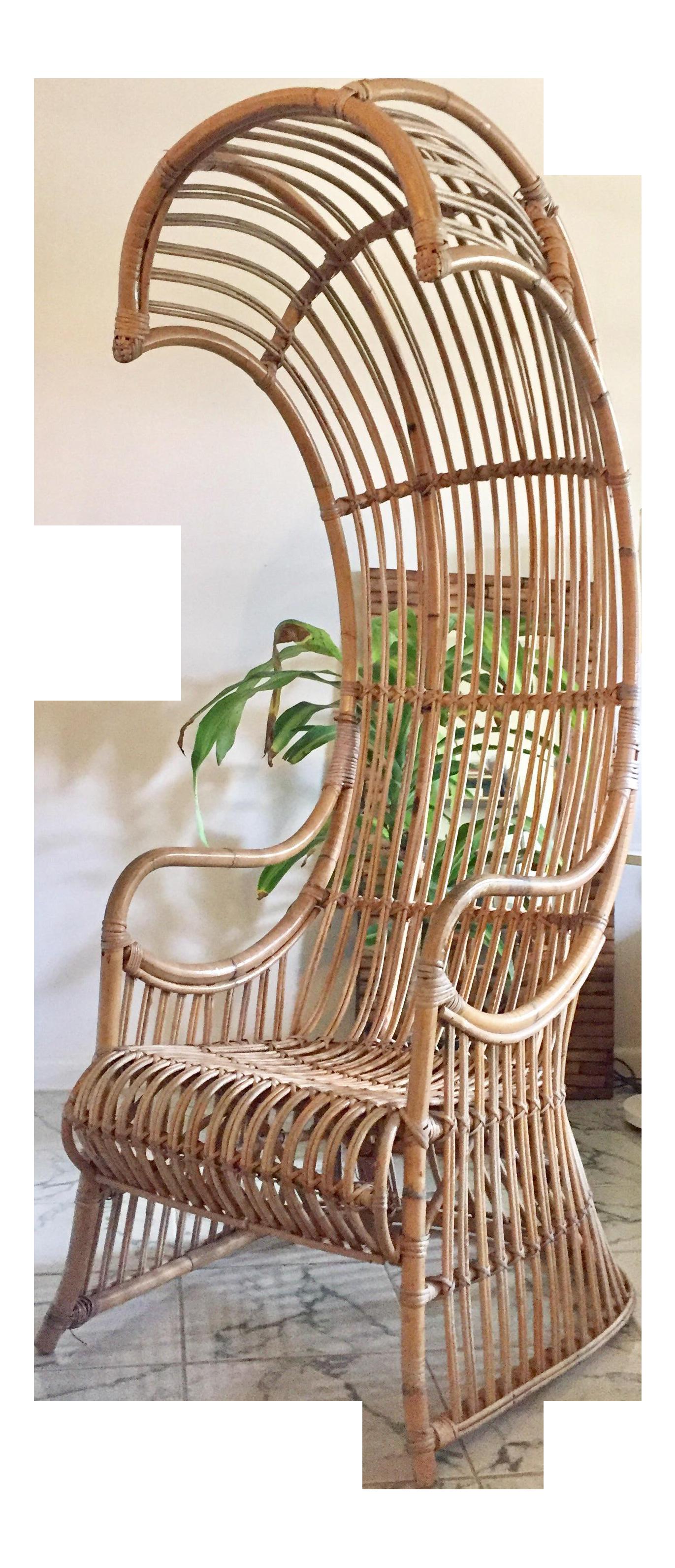 Vintage High Back Hooded Rattan Chair Chairish