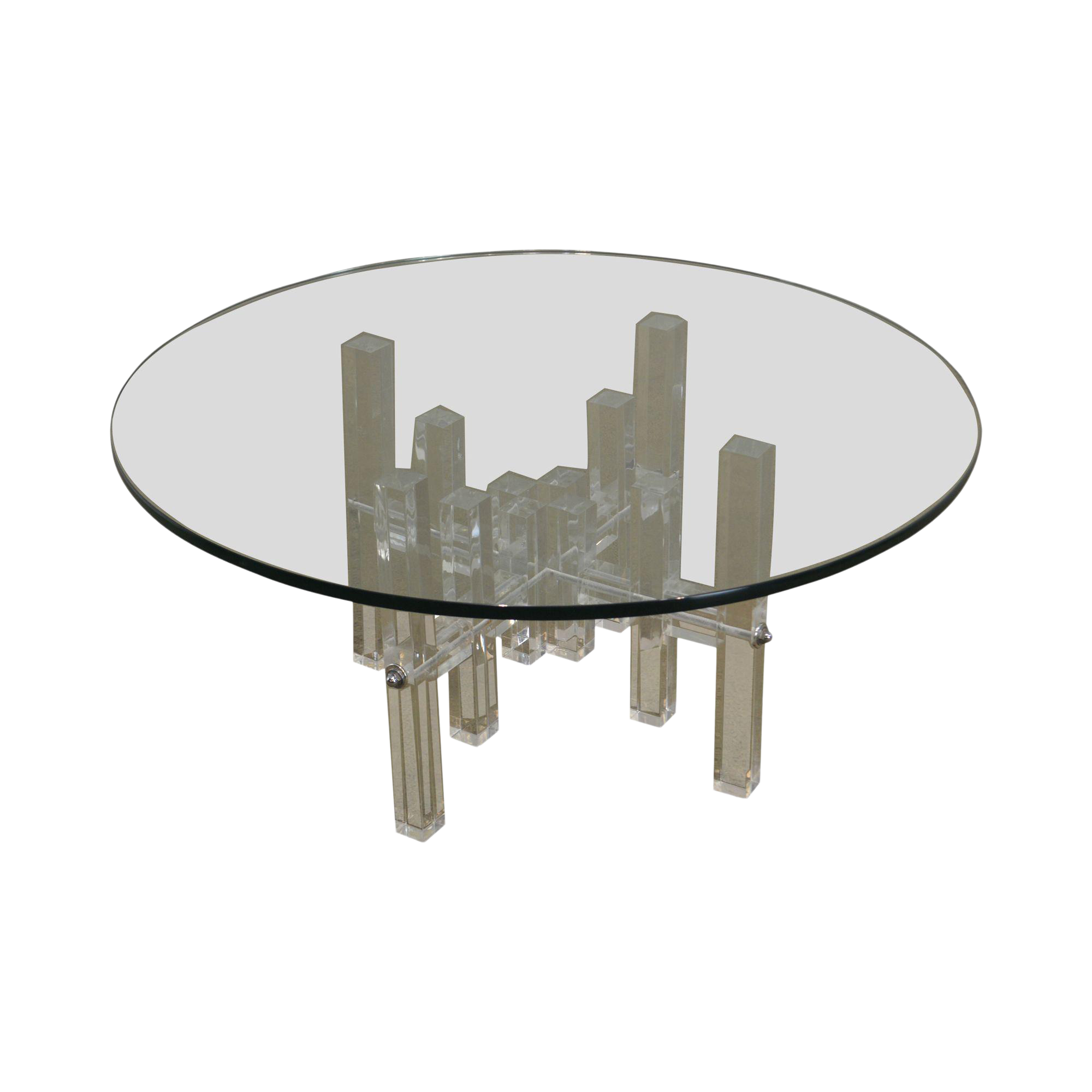 City Scape Mid Century Modern Lucite Base Round Glass Top Coffee